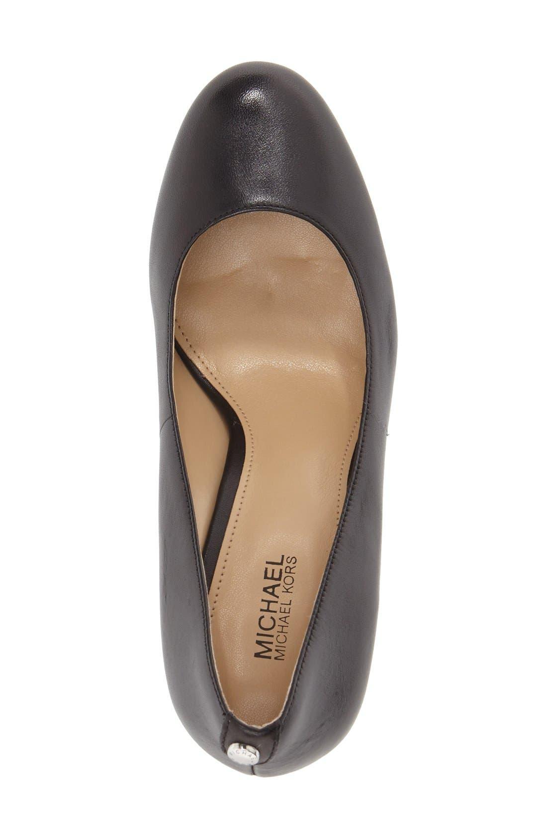 'Lucy - Flex' Round Toe Pump,                             Alternate thumbnail 3, color,                             Black Leather
