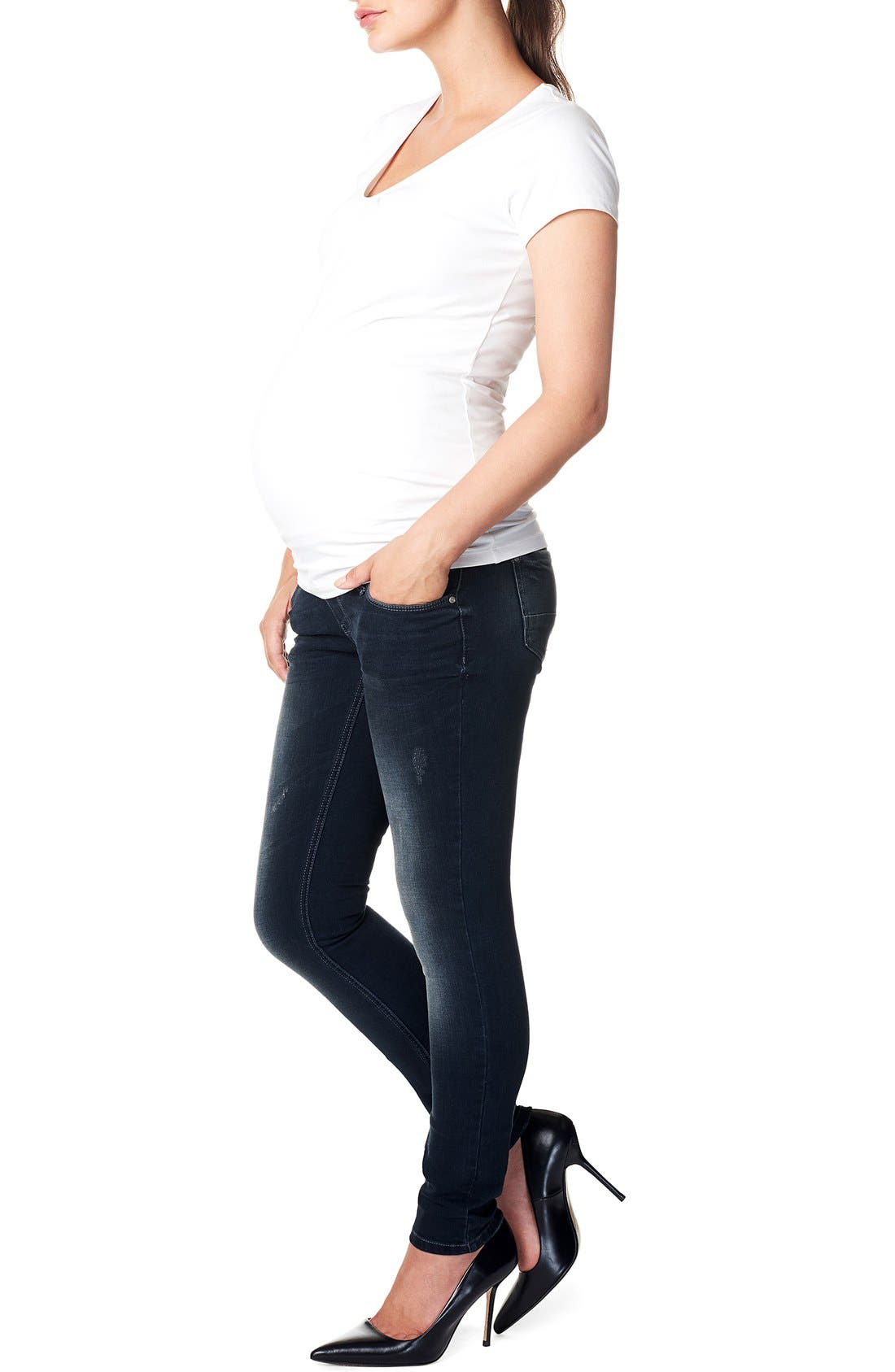 'Britt' Over the Belly Skinny Maternity Jeans,                             Alternate thumbnail 3, color,                             Dark Stone Wash