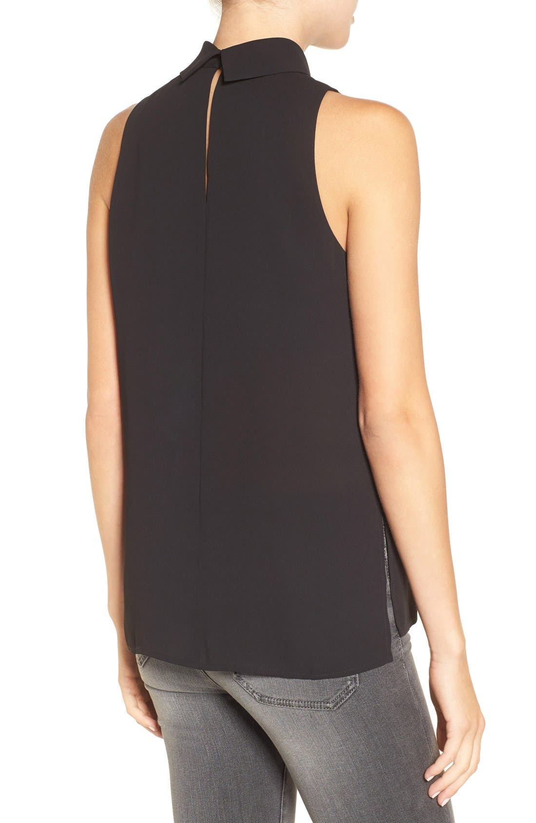 Choker Collar V-Neck Tank,                             Alternate thumbnail 2, color,                             Black