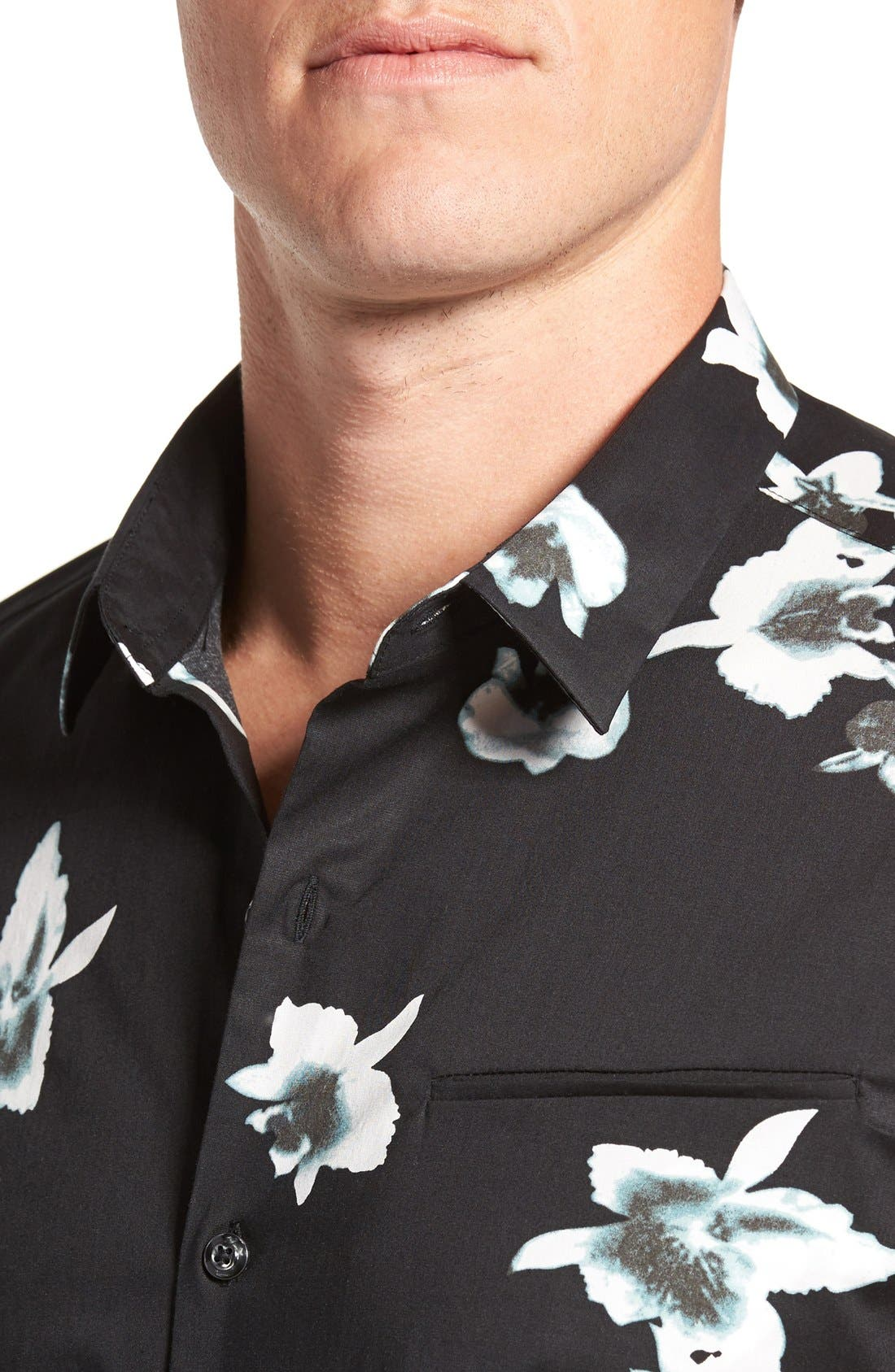 'My Wish' Short Sleeve Floral Print Sport Shirt,                             Alternate thumbnail 4, color,                             Black
