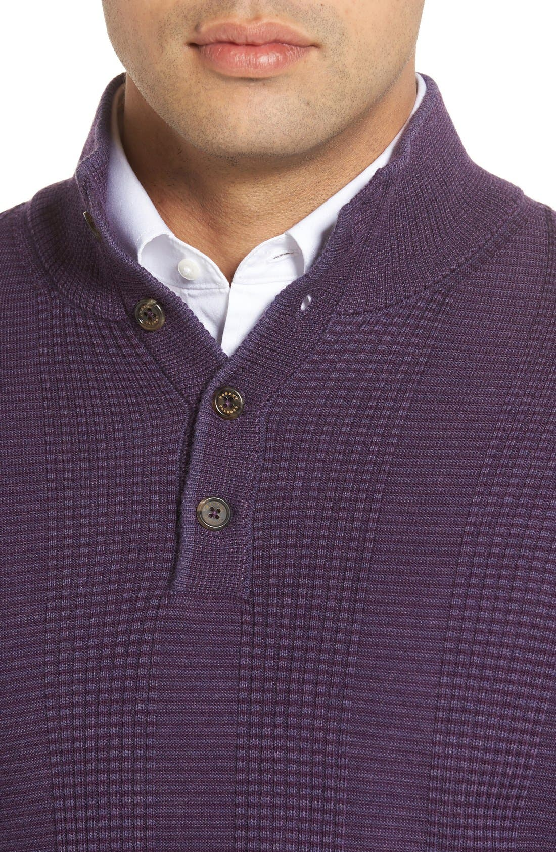 'Legacy Collection' Mock Neck Wool Sweater,                             Alternate thumbnail 4, color,                             Concord