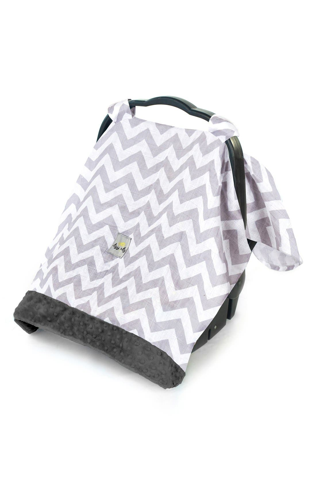 'Cozy Happens<sup>™</sup>' Muslin Canopy & Tummy Time Mat,                             Main thumbnail 1, color,                             Grey Chevron