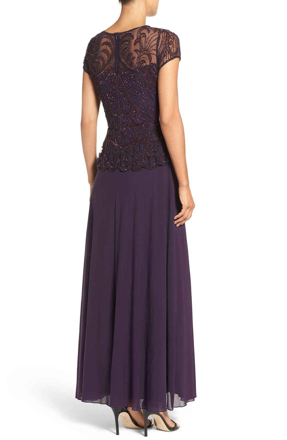 Embellished Mesh Popover Gown,                             Alternate thumbnail 2, color,                             Plum
