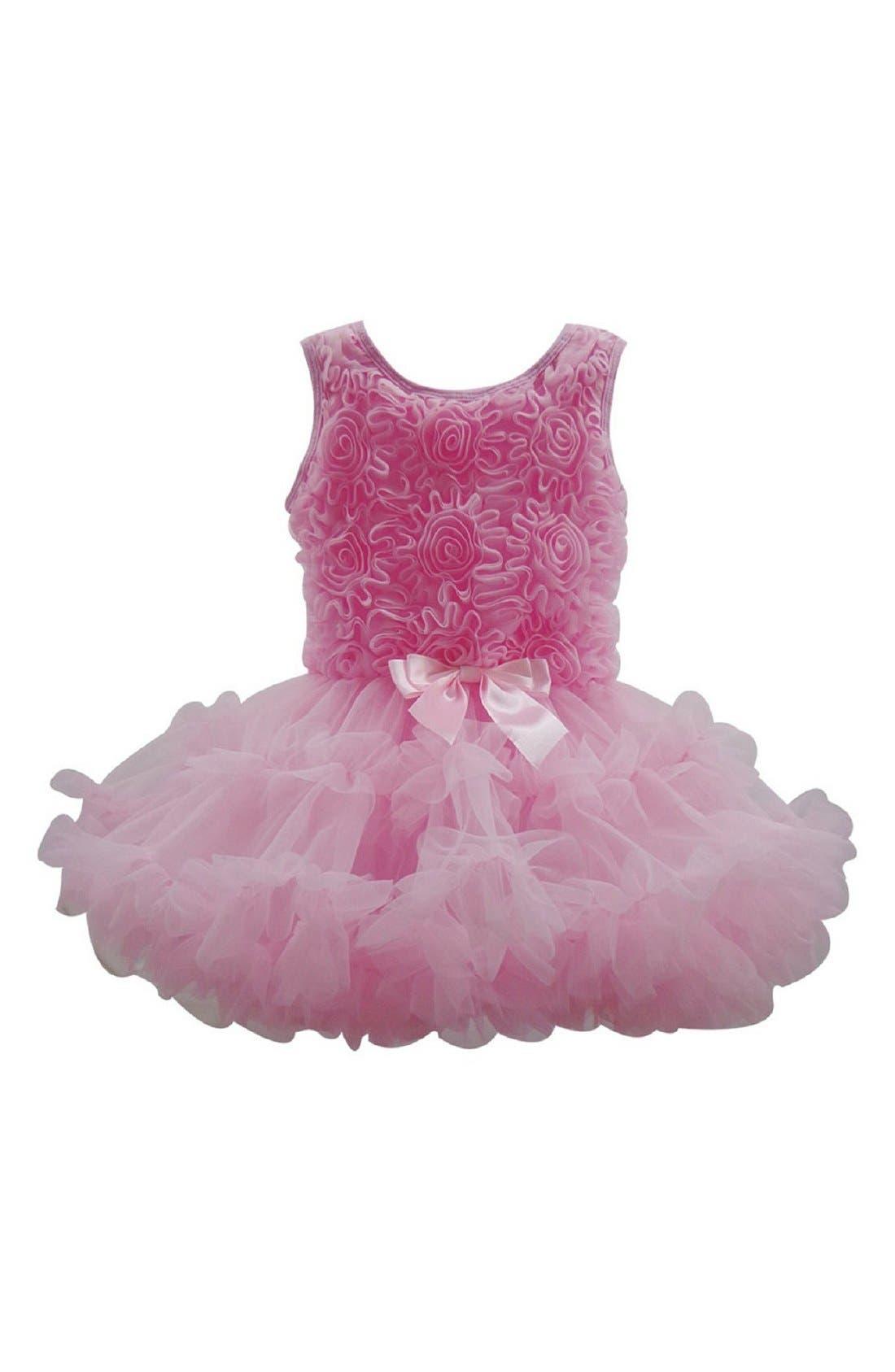 Main Image - Popatu Rosette Soutache Pettidress (Toddler Girls & Little Girls)