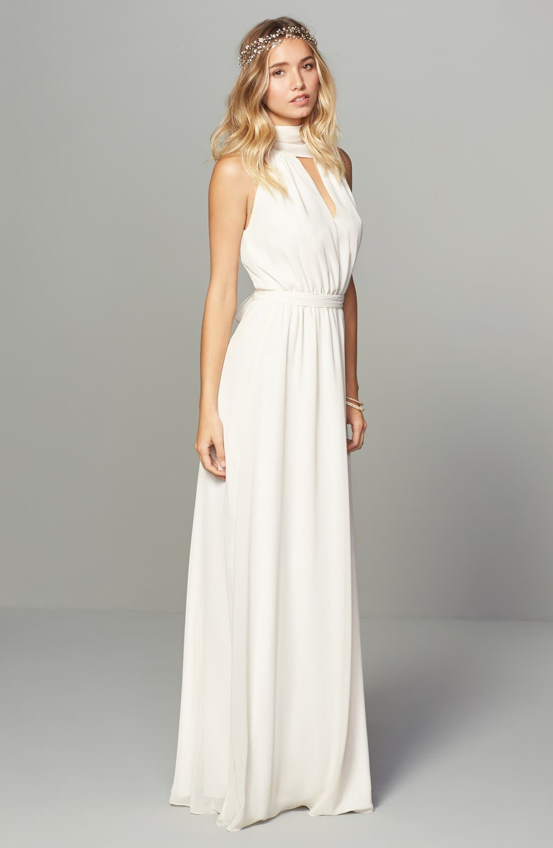 Alternate Image 2  - Ceremony by Joanna August 'Riggs' Halter V-Neck Chiffon Gown