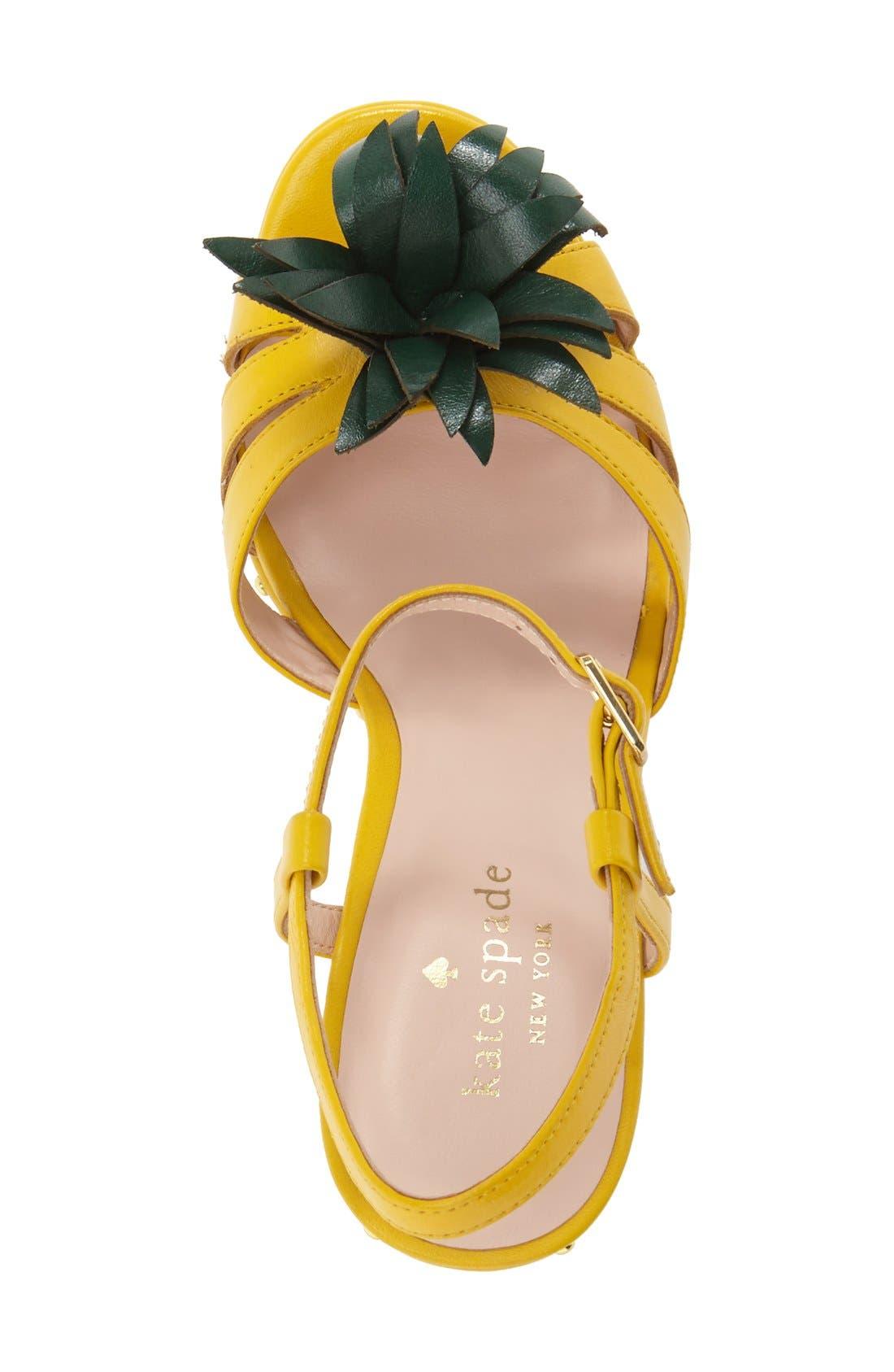 'dominica' pineapple wedge sandal,                             Alternate thumbnail 3, color,                             Dark Yellow Vachetta