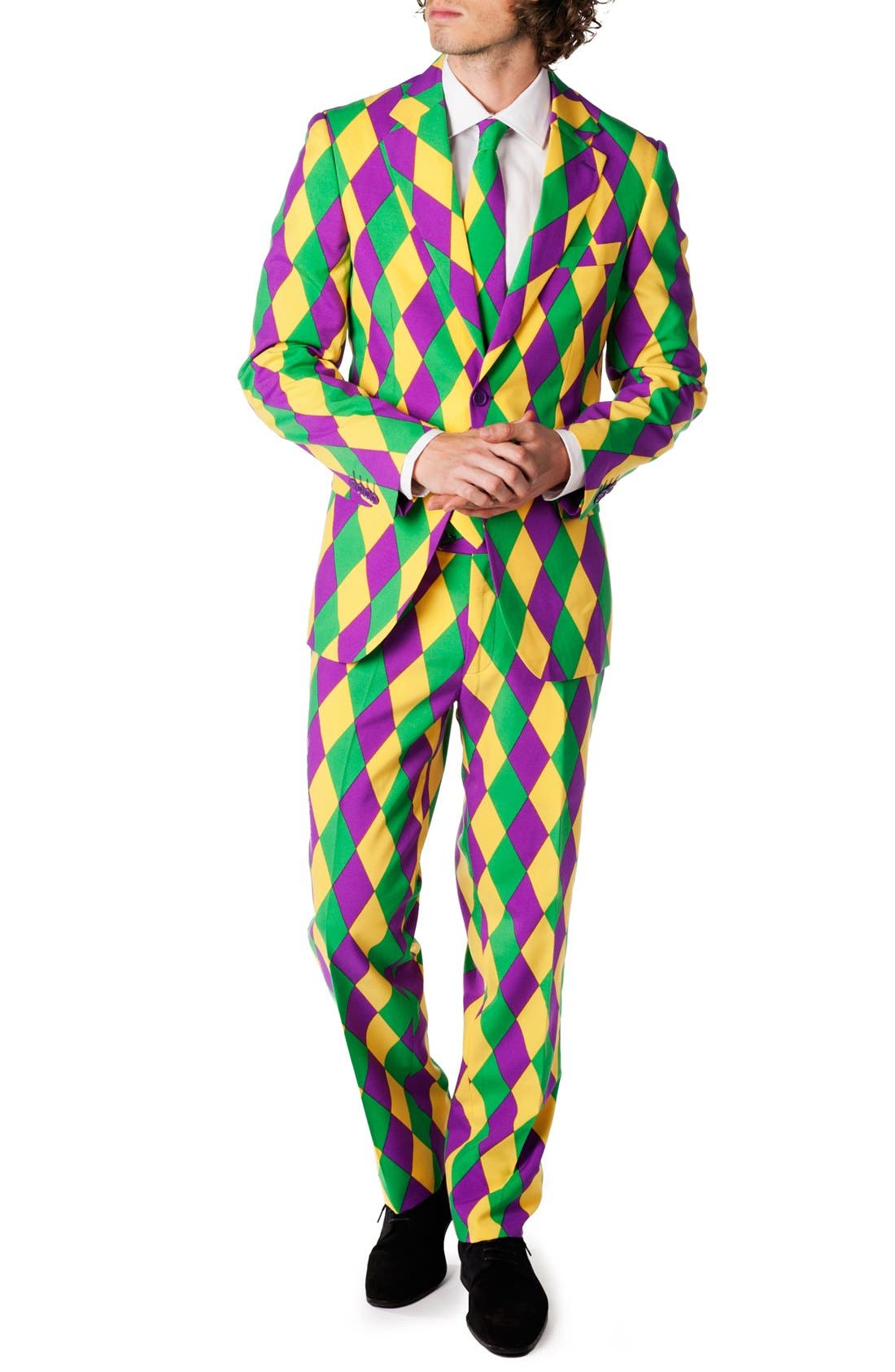 'Harleking' Trim Fit Suit with Tie,                             Main thumbnail 1, color,                             Green/ Purple/ Yellow