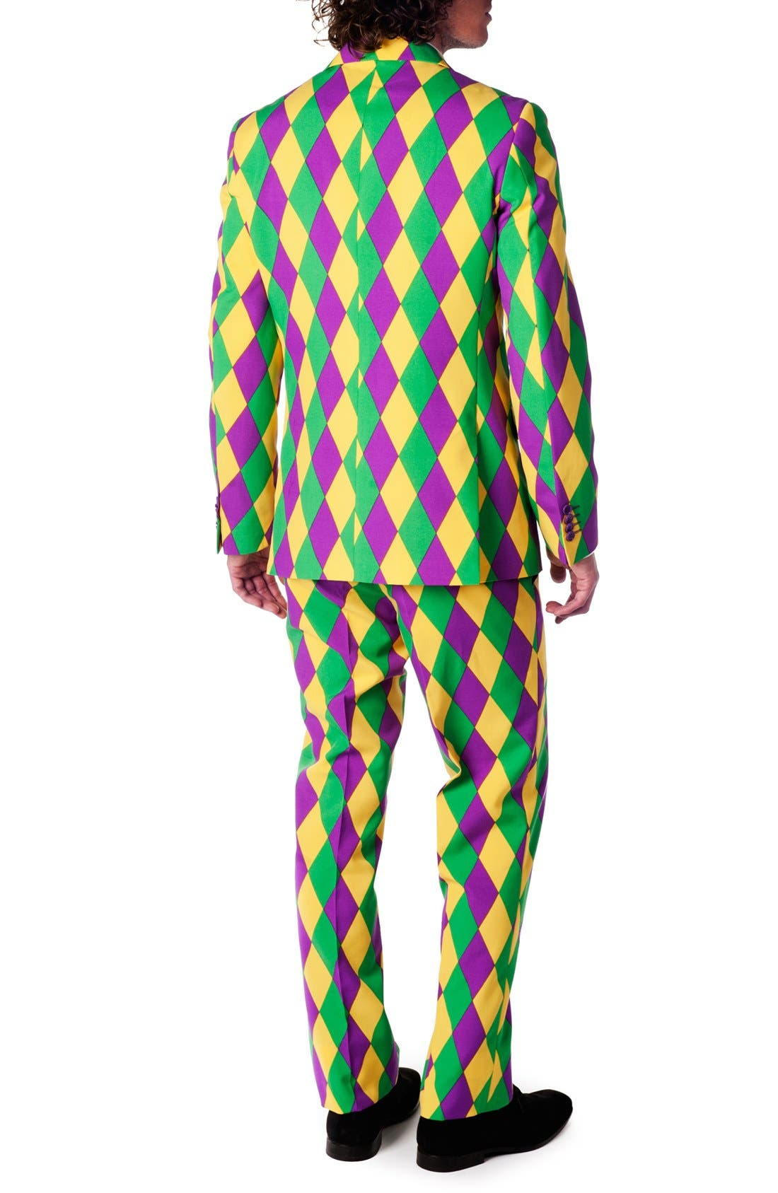 'Harleking' Trim Fit Suit with Tie,                             Alternate thumbnail 6, color,                             Green/ Purple/ Yellow