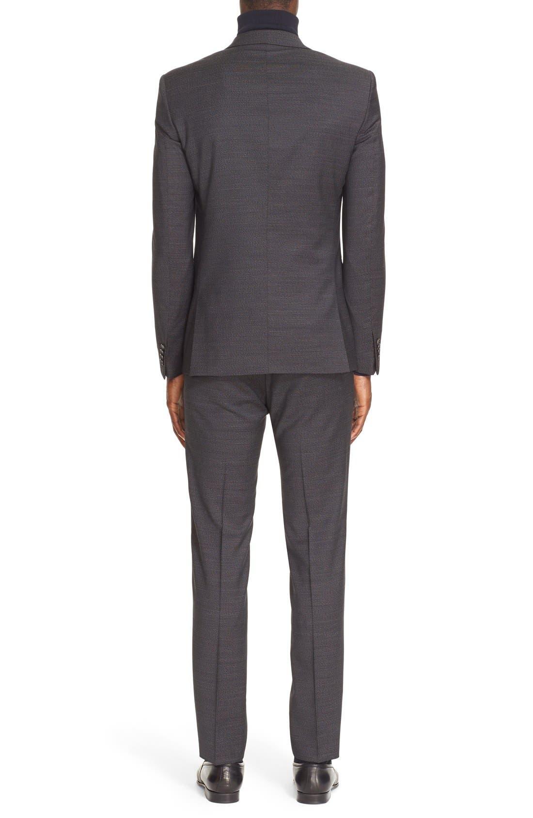 Extra Trim Fit Textured Wool Suit,                             Alternate thumbnail 2, color,                             Black
