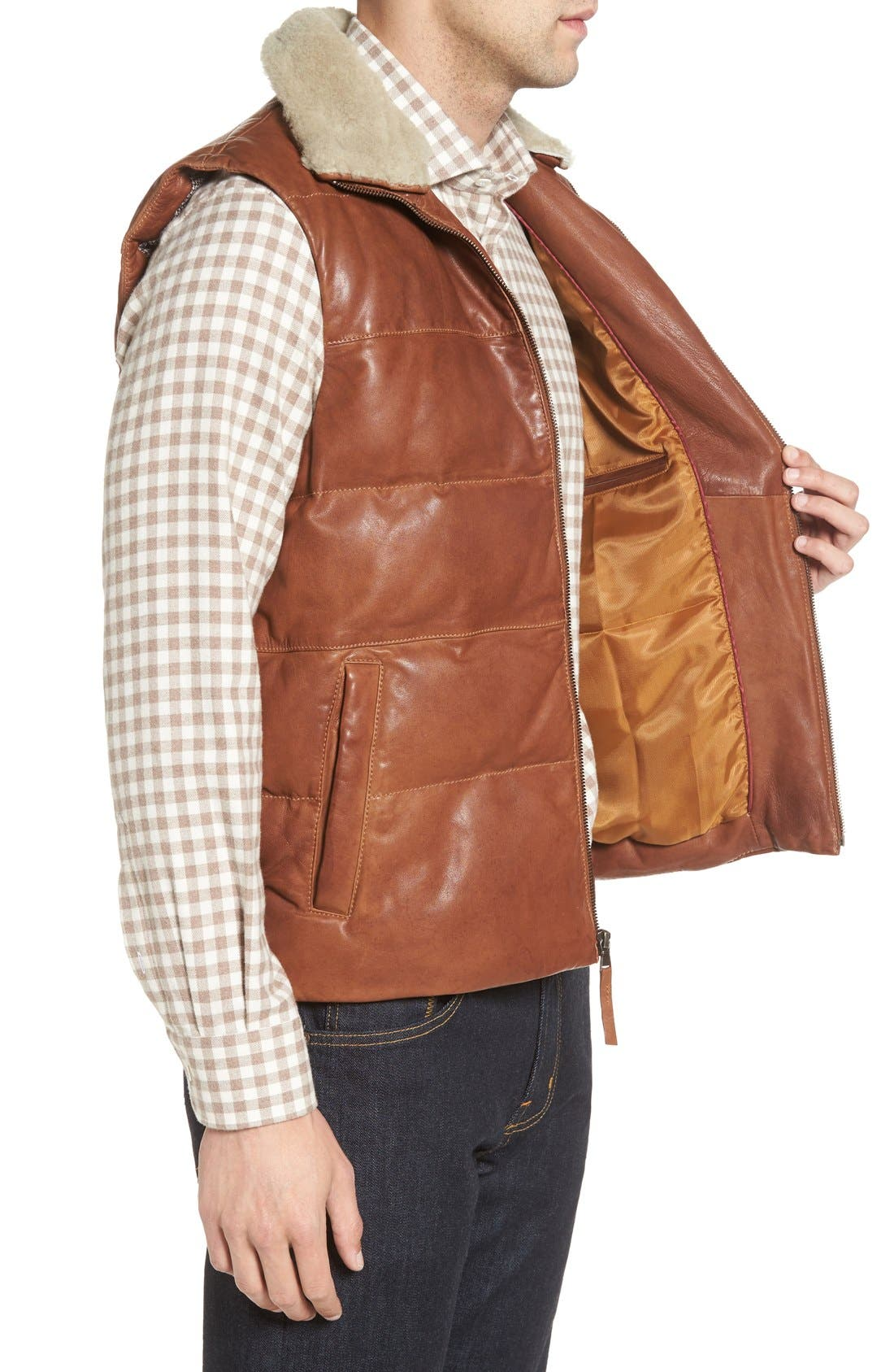 Quilted Leather Vest with Removable Genuine Shearling Collar,                             Alternate thumbnail 3, color,                             Cognac