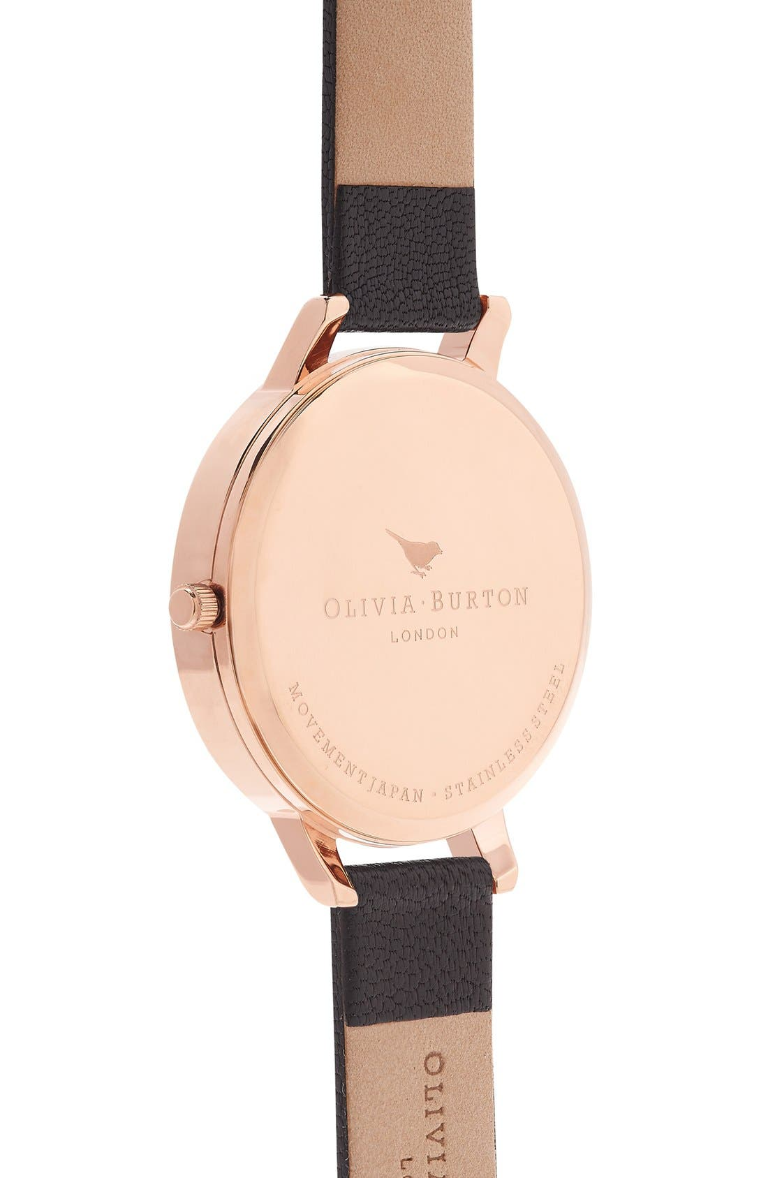 Alternate Image 2  - Olivia Burton Signature Florals Leather Strap Watch, 38mm