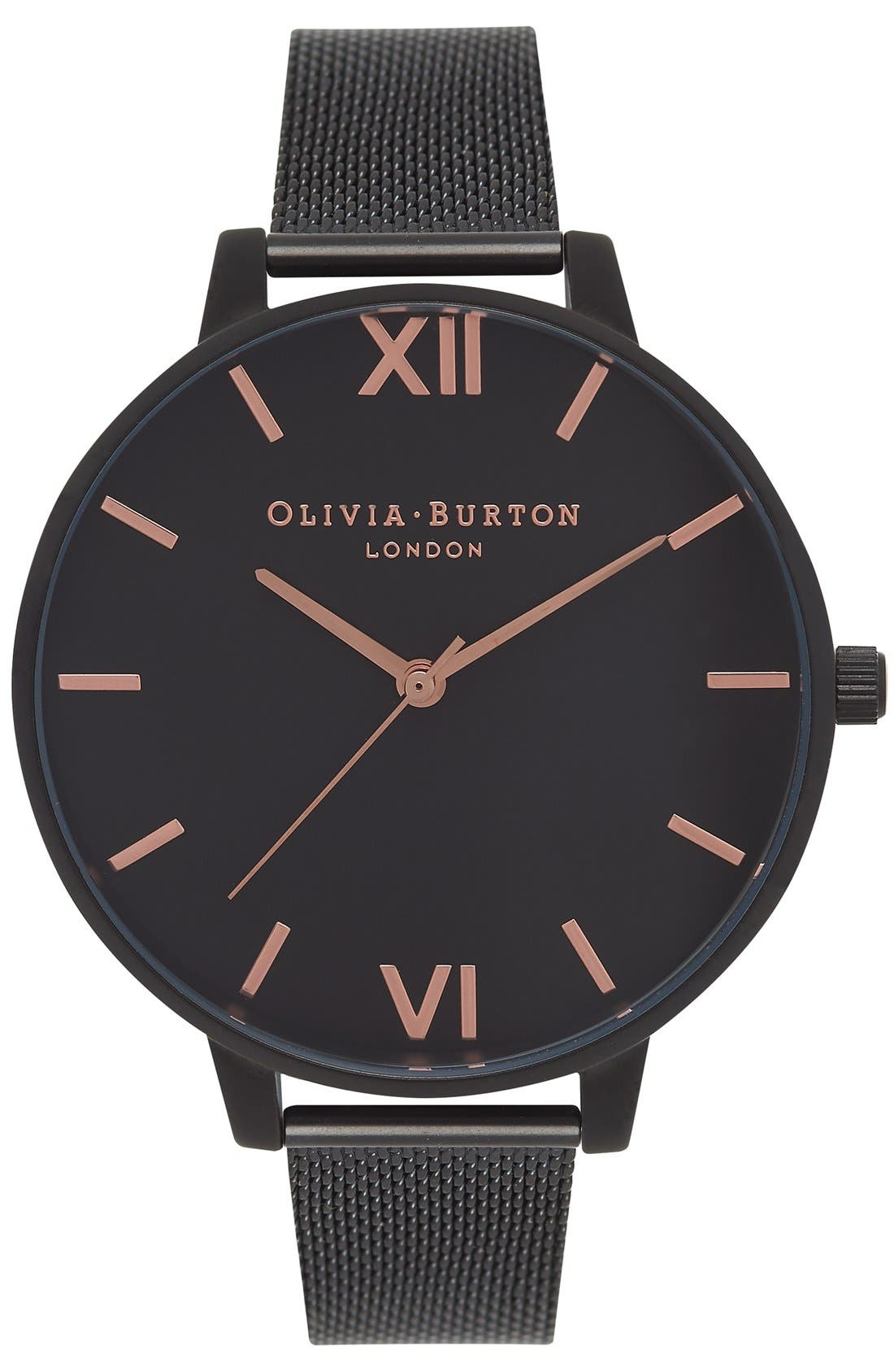 'Big Dial' Mesh Strap Watch, 38mm,                         Main,                         color, Black/ Black