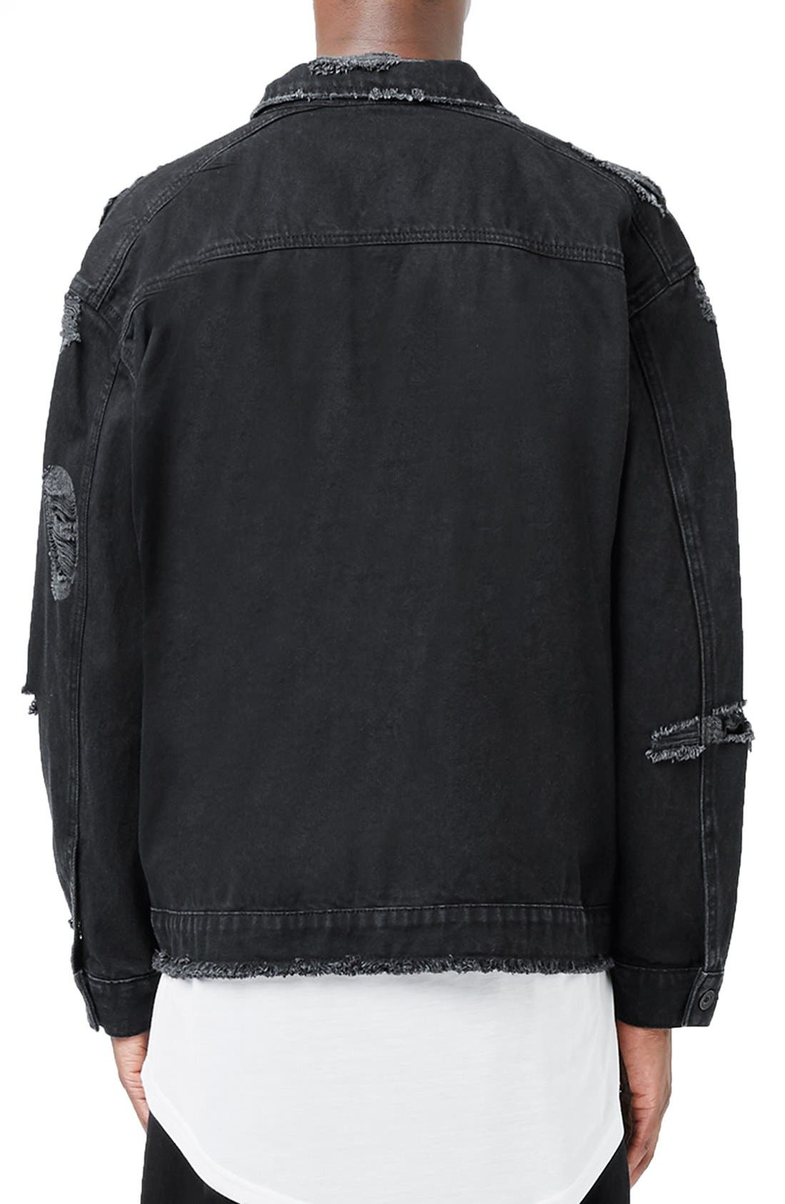 Alternate Image 3  - Topman AAA Collection Ripped Denim Jacket