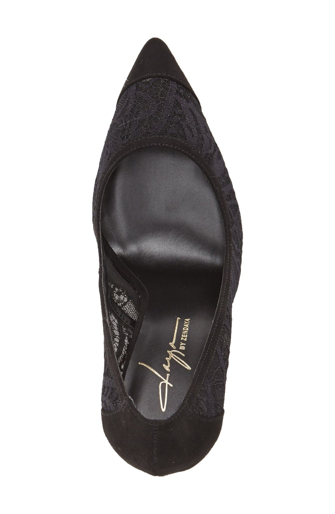 by Zendaya 'Annabelle' Pointy Toe Pump,                             Alternate thumbnail 3, color,                             Black Lace Fabric