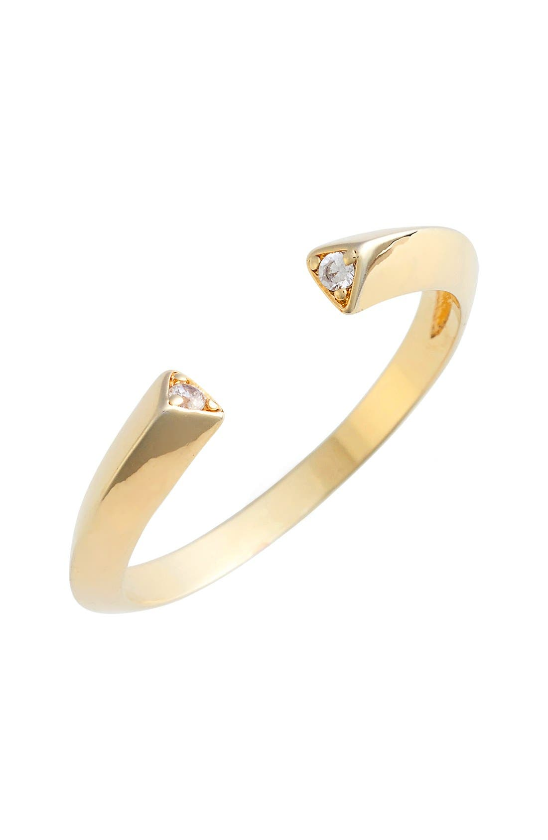Pavé Triangle Ring,                         Main,                         color, Yellow Gold/ Clear