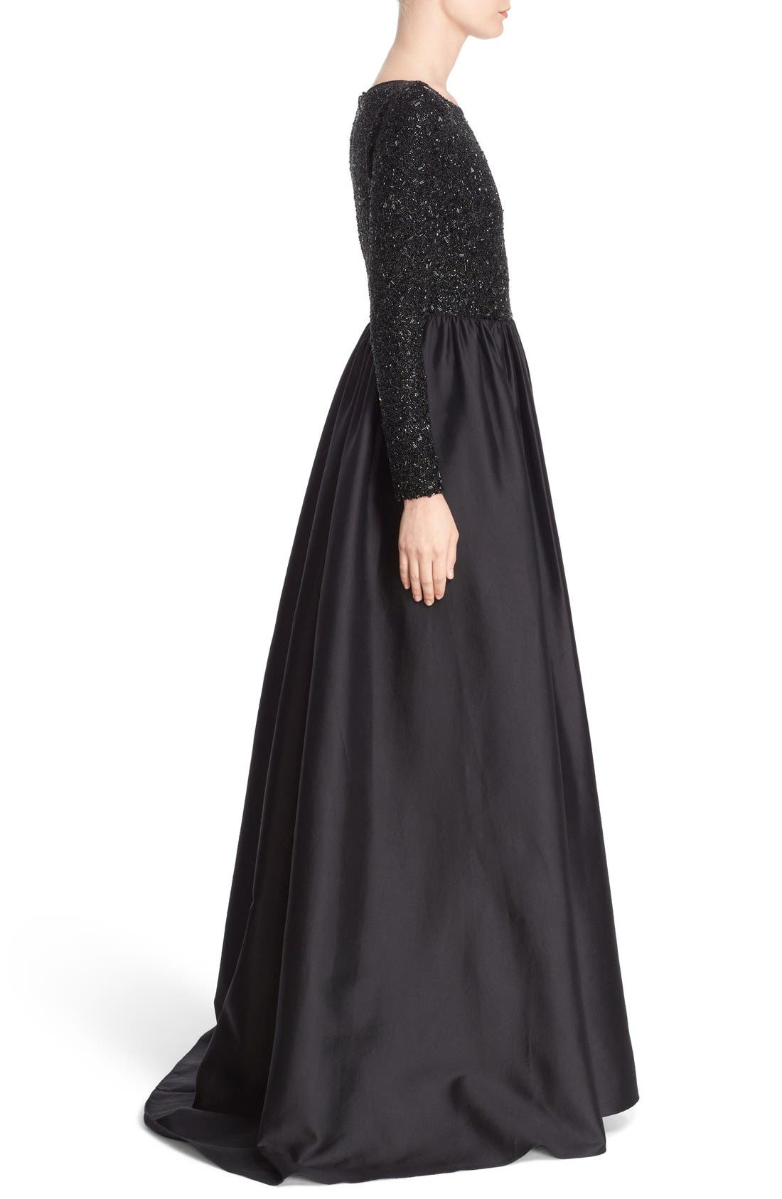 Alternate Image 4  - Badgley Mischka Couture Embellished Bodice Long Sleeve Gown