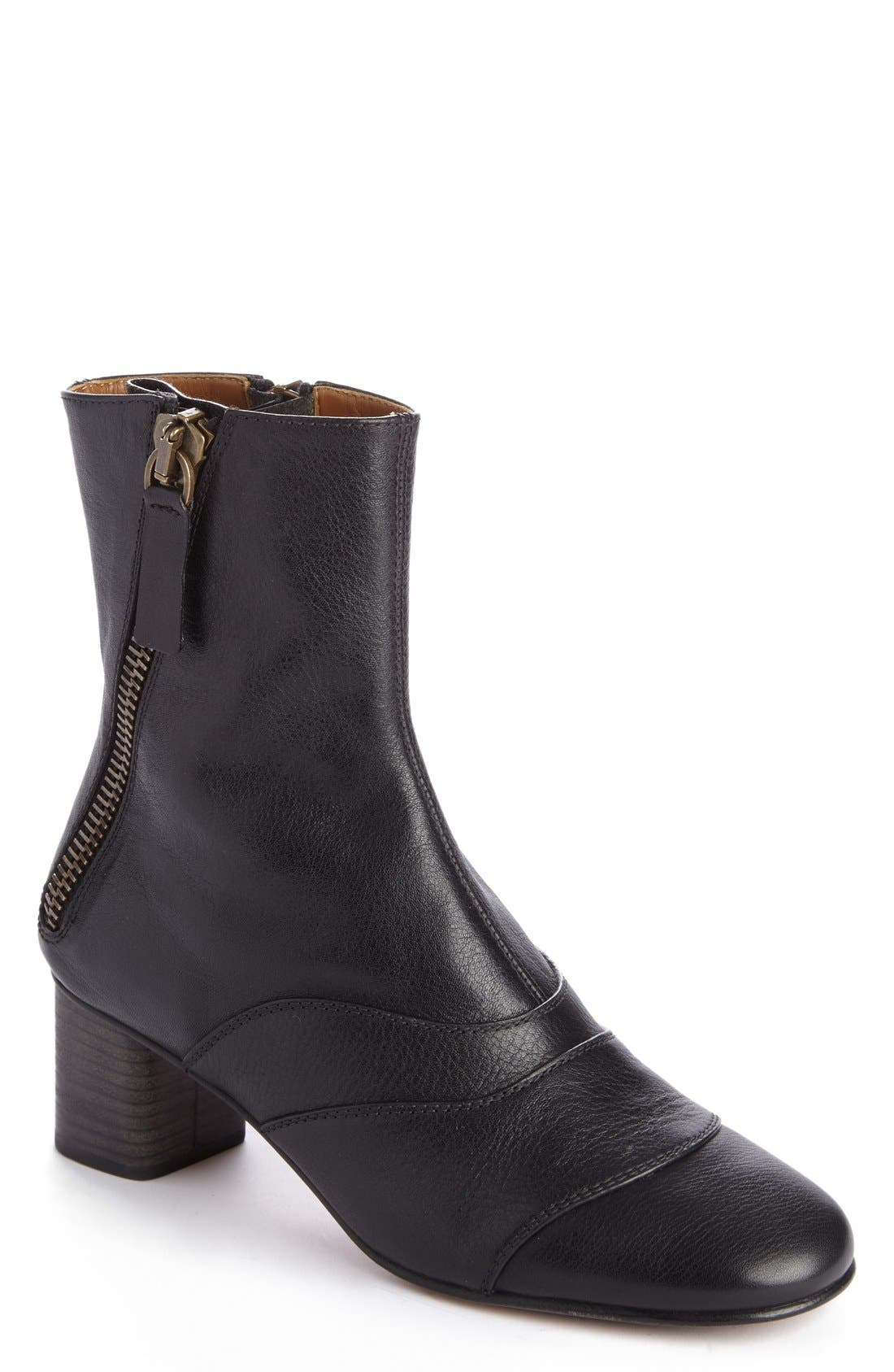 'Lexie' Block Heel Boot,                             Main thumbnail 1, color,                             Black Leather