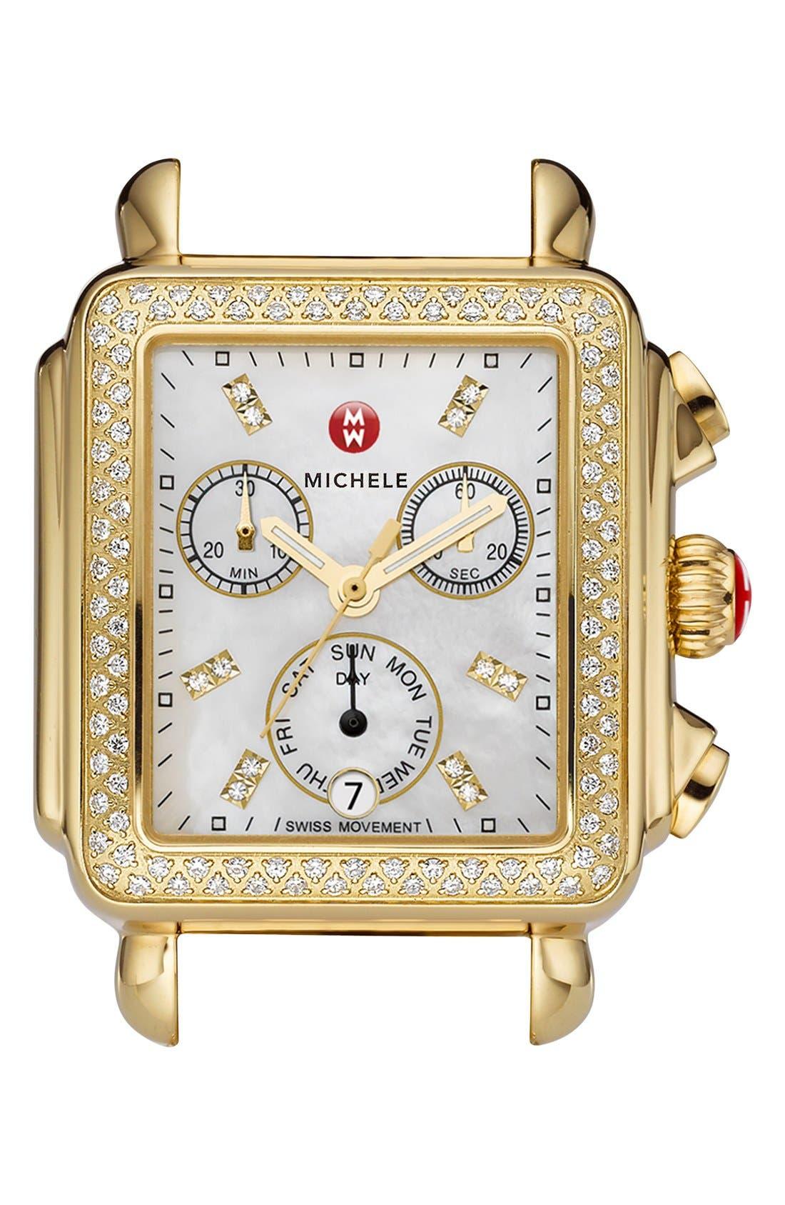 Main Image - MICHELE Deco Diamond Diamond Dial Gold Plated Watch Case, 33mm x 35mm
