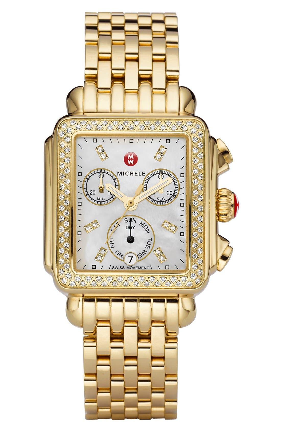 Alternate Image 2  - MICHELE Deco Diamond Diamond Dial Gold Plated Watch Case, 33mm x 35mm