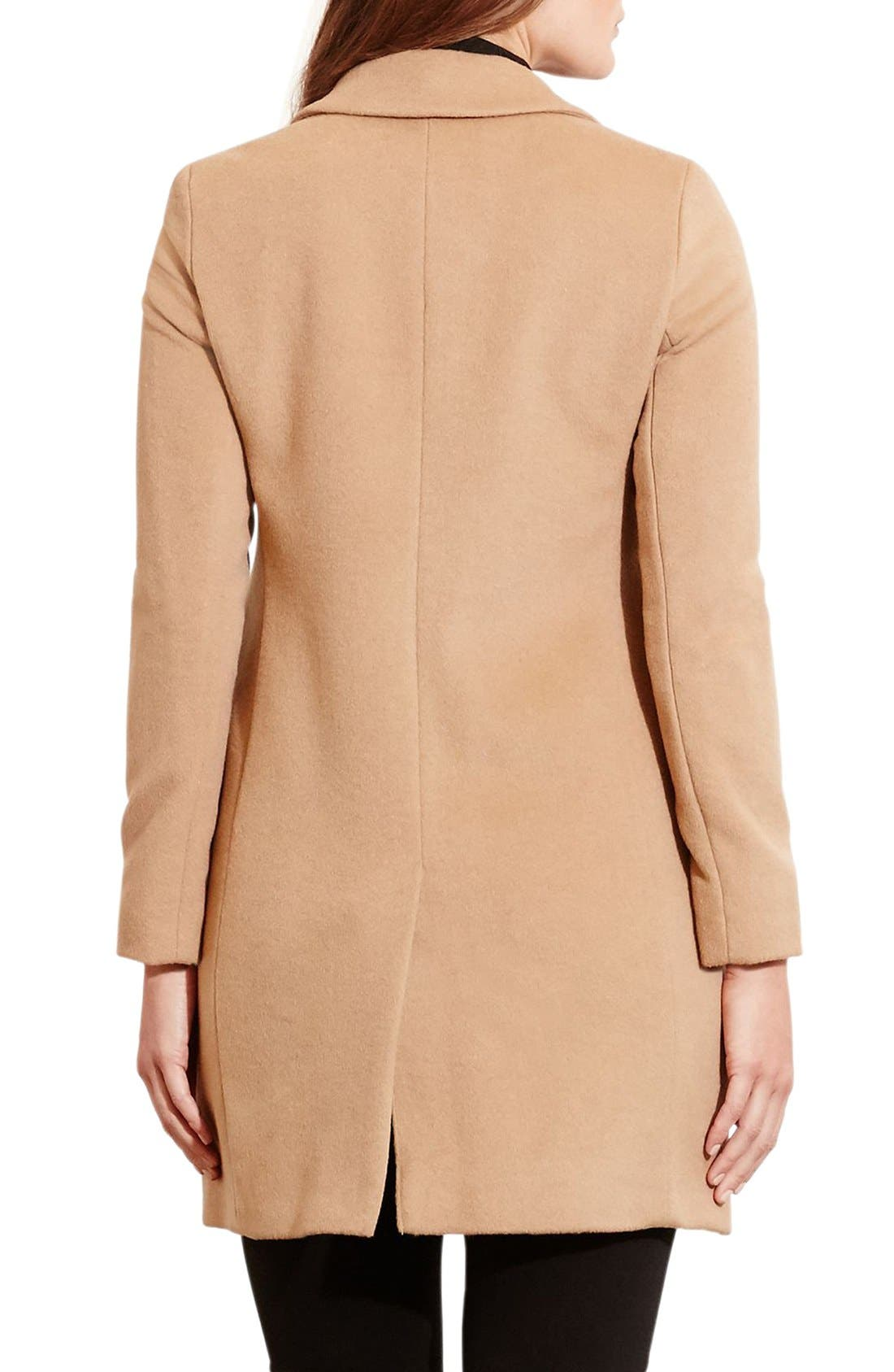 Alternate Image 2  - Lauren Ralph Lauren Wool Blend Reefer Coat (Plus Size)
