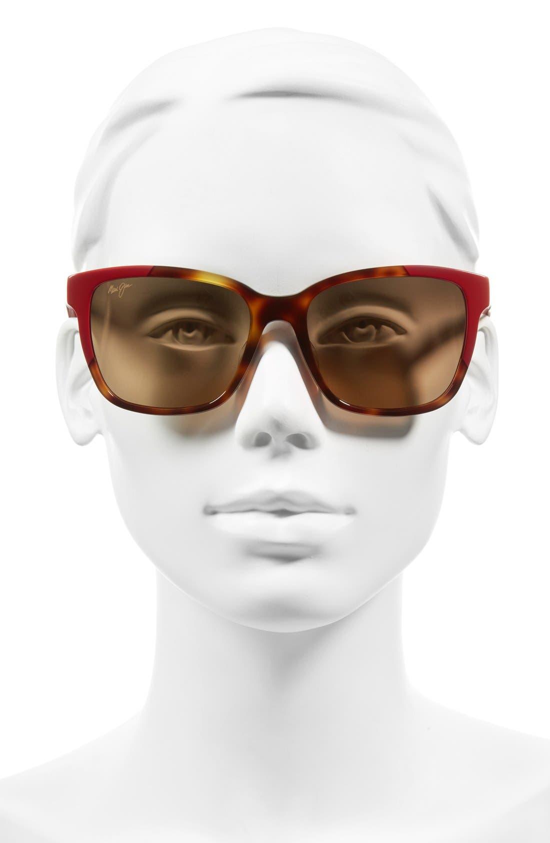Moonbow 57mm PolarizedPlus2<sup>®</sup> Sunglasses,                             Alternate thumbnail 2, color,                             Tortoise/ Red/ Bronze