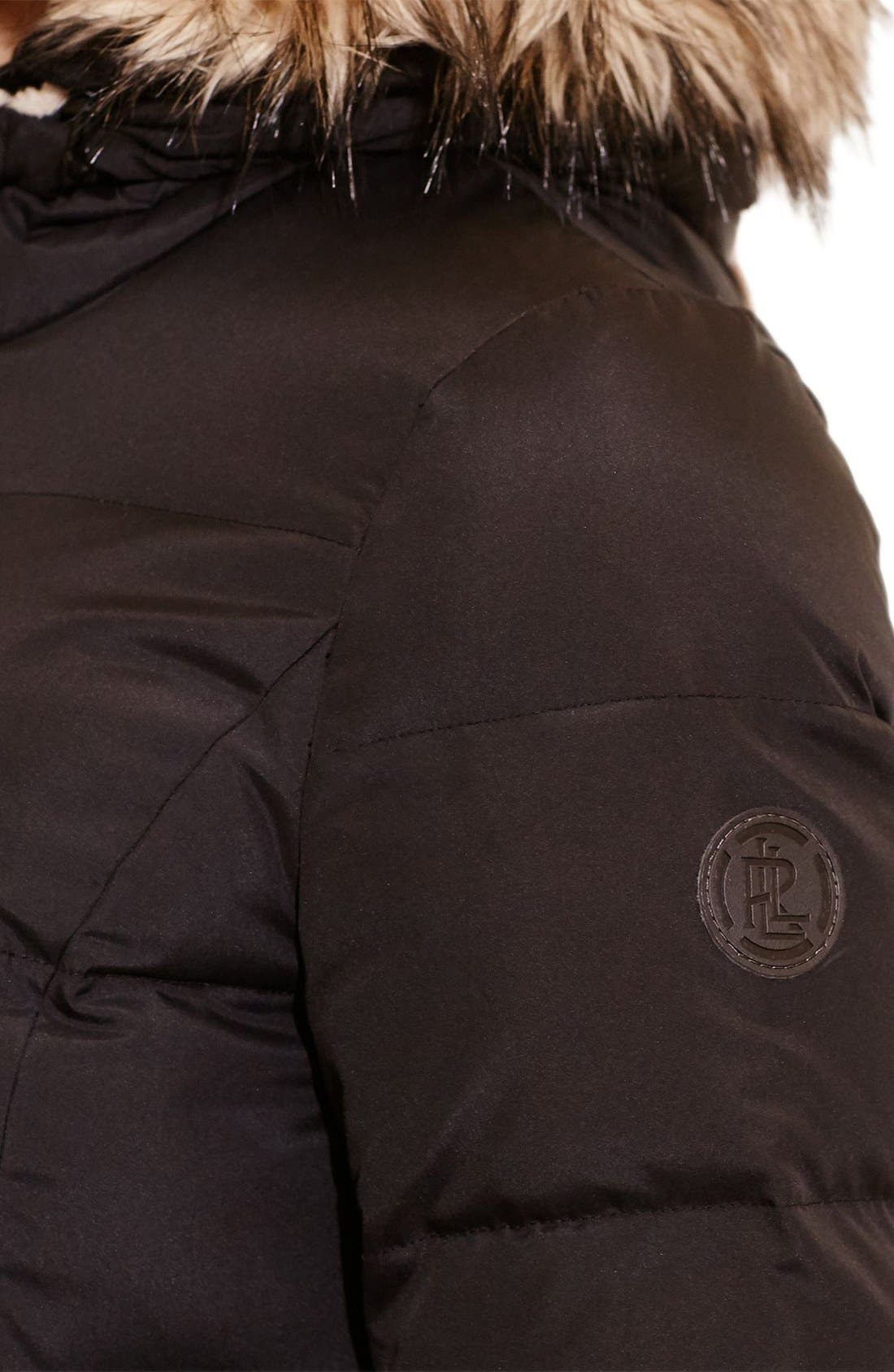 Quilted Down & Feather Fill Parka with Faux Fur Trim,                             Alternate thumbnail 4, color,                             Black