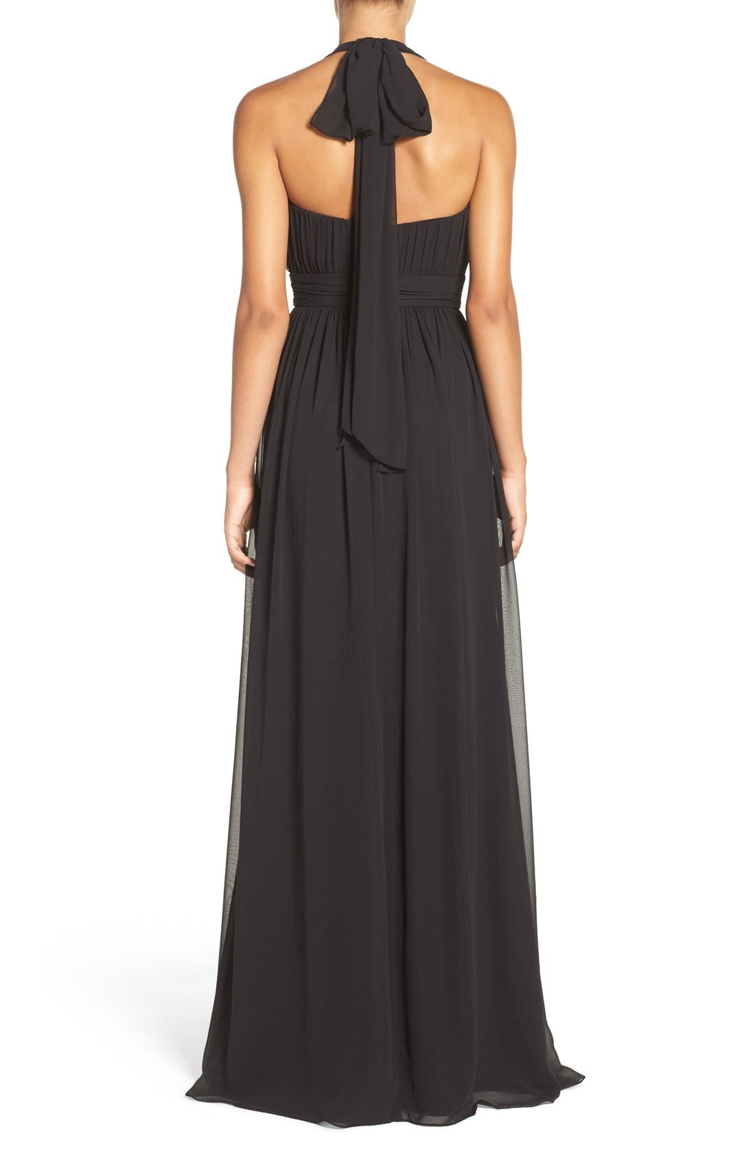 Alternate Image 2  - Hayley Paige Occasions Ruched Waist Chiffon Halter Gown