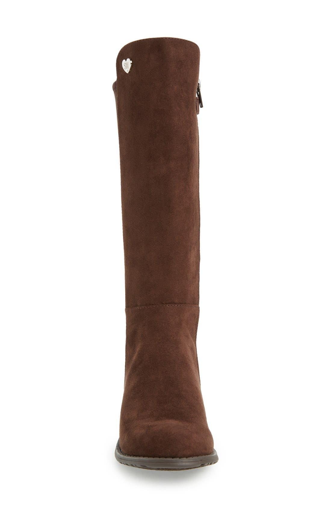 '50/50' Stretch Back Riding Boot,                             Alternate thumbnail 3, color,                             Brown Leather