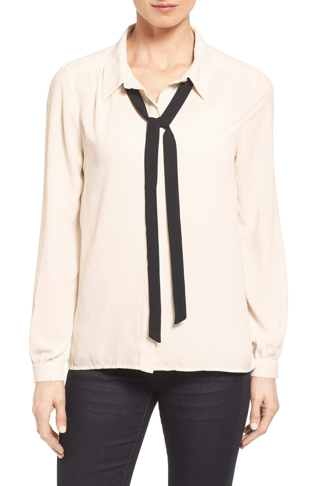 Long Sleeve Contrast Bow Blouse,                             Main thumbnail 1, color,                             Ivory