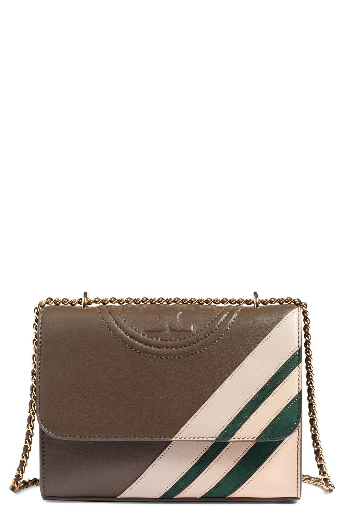 Main Image - Tory Burch 'Fleming Stripe' Convertible Crossbody Bag