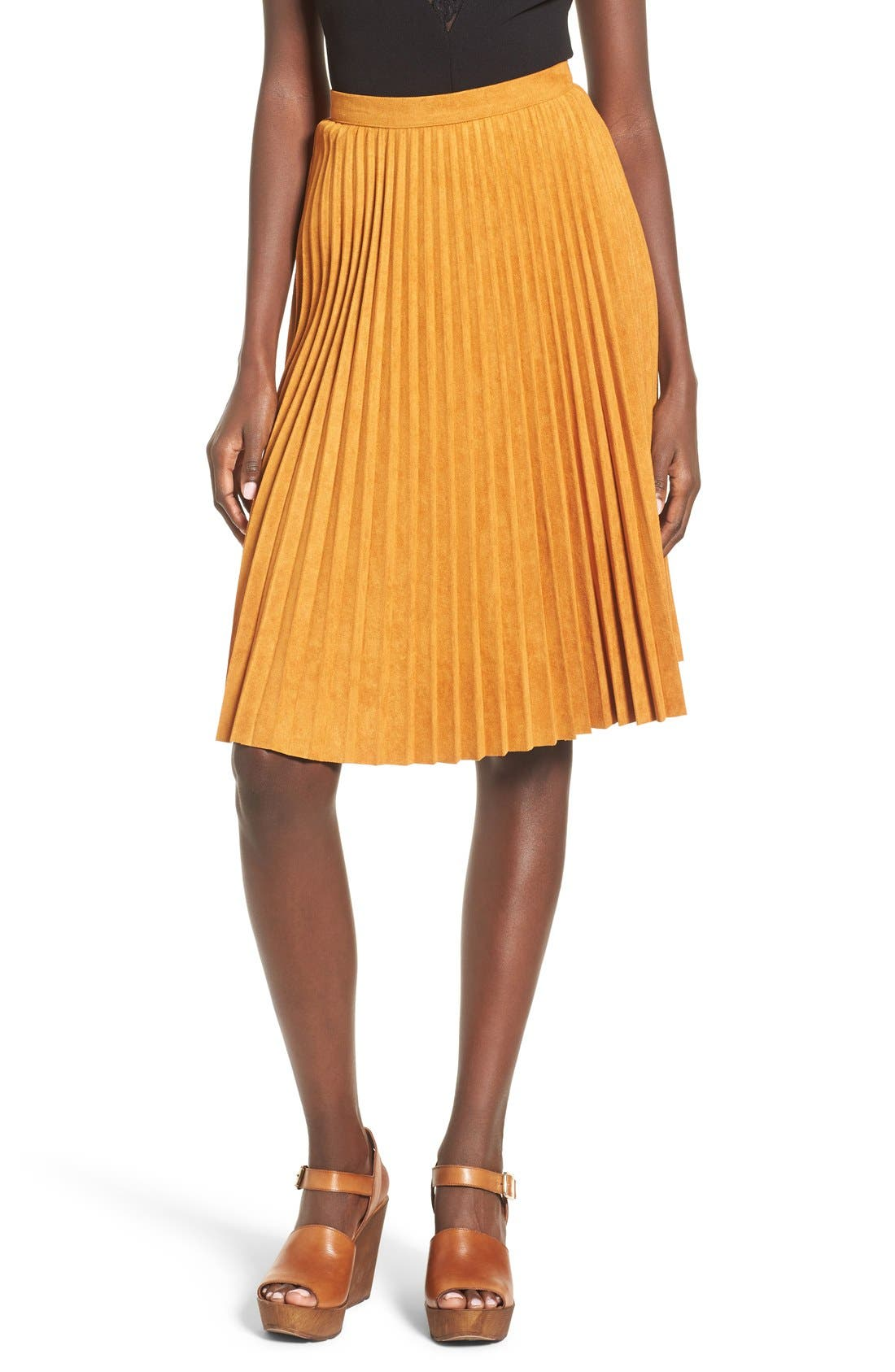 Main Image - Storee Pleated Faux Suede Skirt