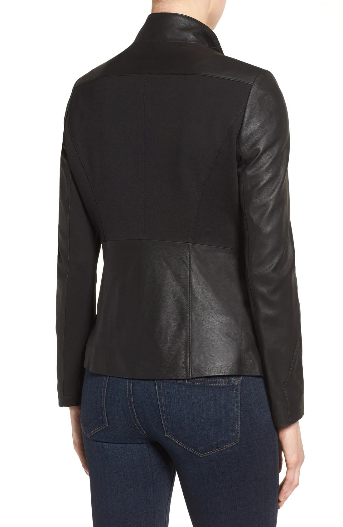 Alternate Image 2  - Via Spiga Asymmetrical Leather Jacket
