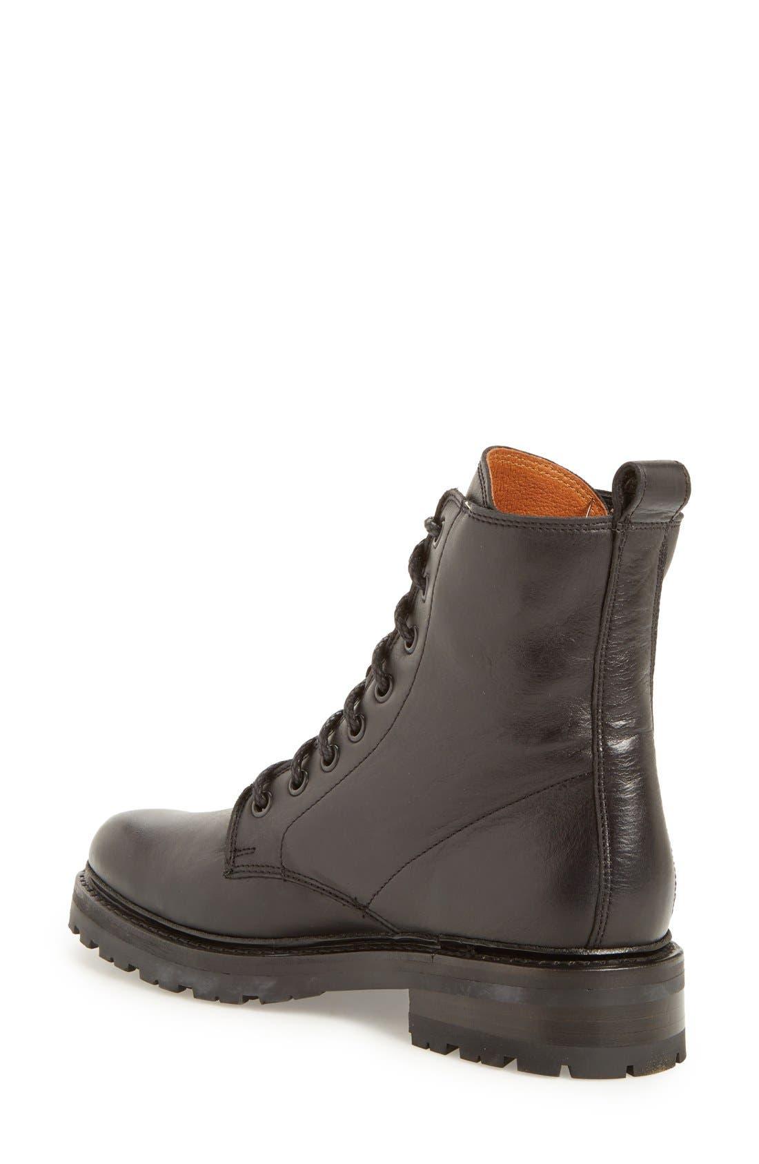 'Julie Combat' Boot,                             Alternate thumbnail 2, color,                             Black