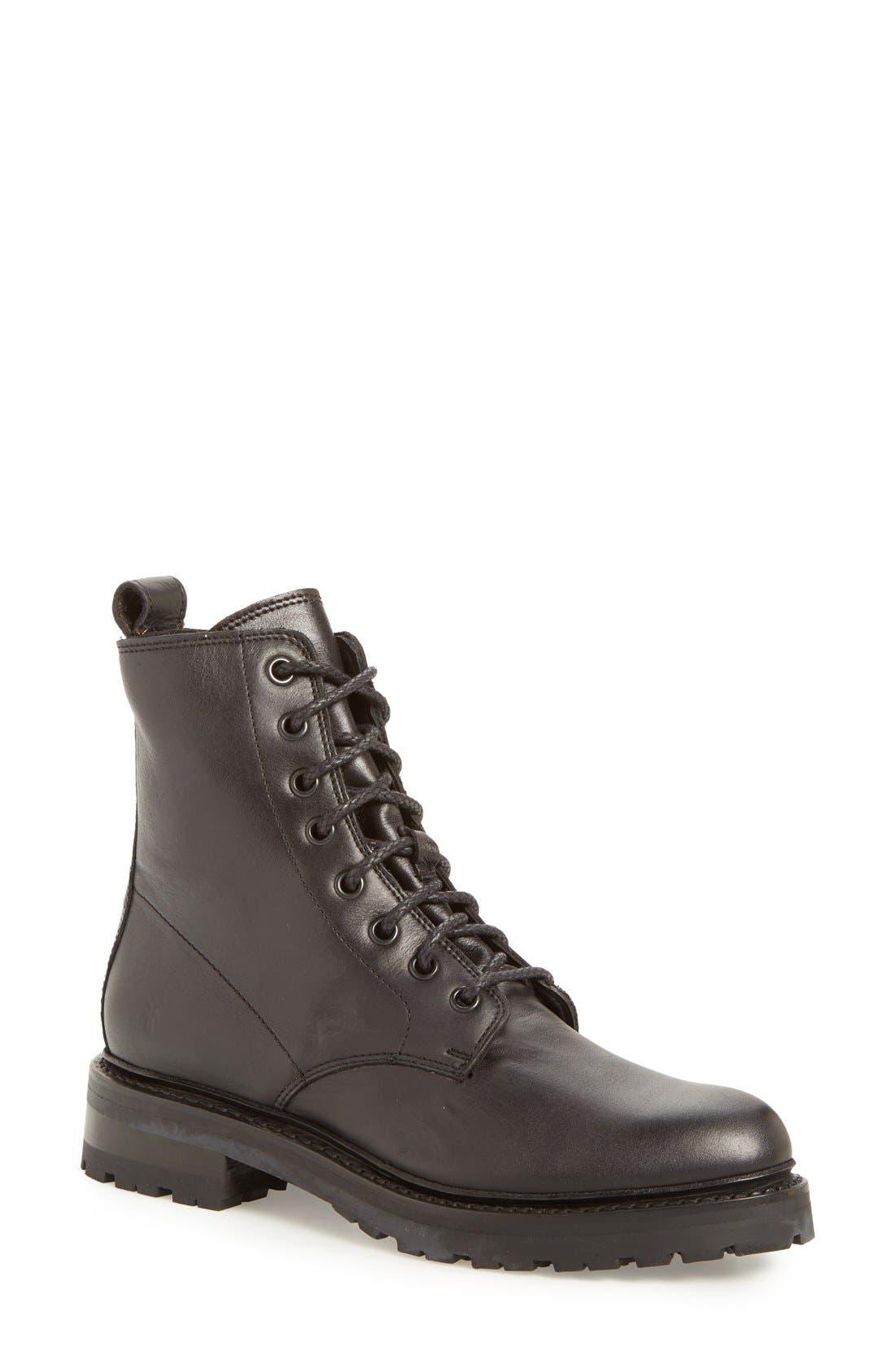 'Julie Combat' Boot,                             Main thumbnail 1, color,                             Black