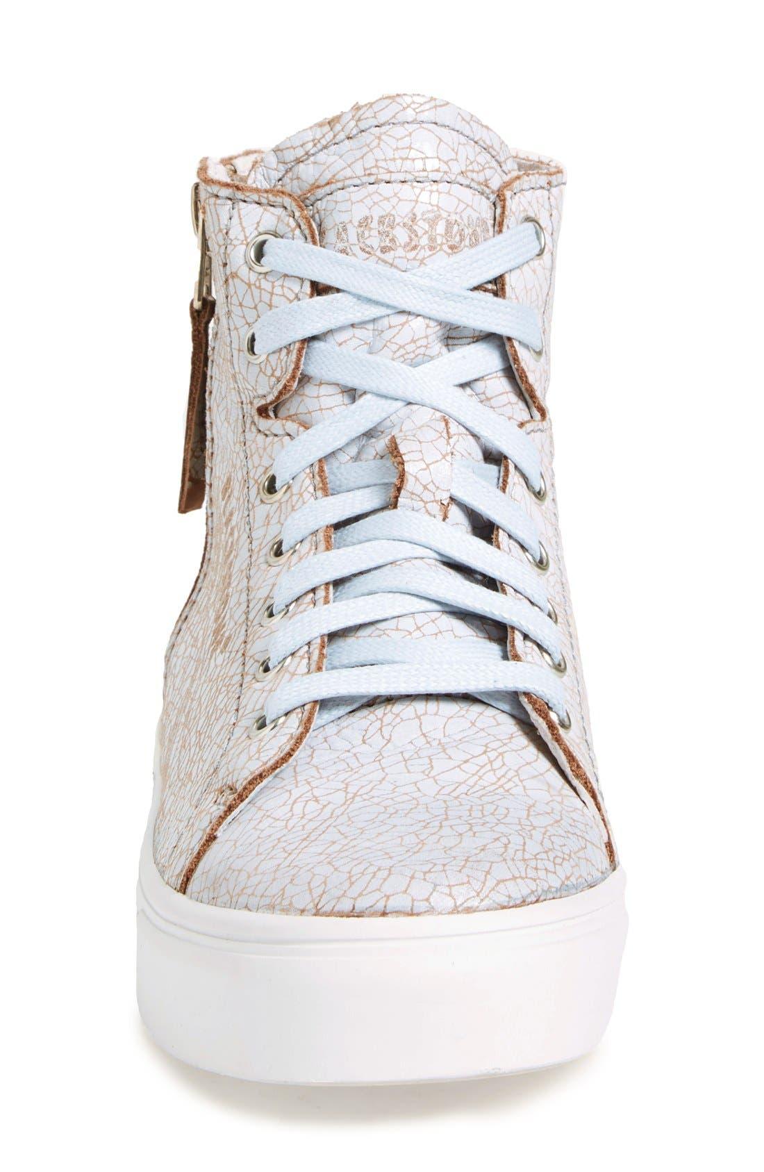 'LL78' Crackled High Top Platform Sneaker,                             Alternate thumbnail 3, color,                             Hazel/White