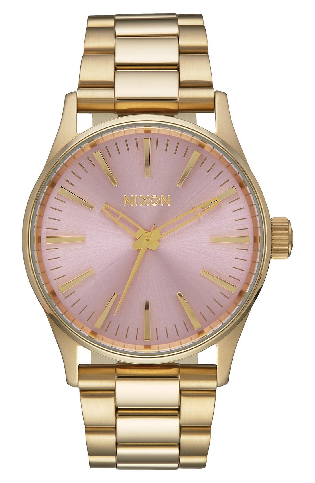 'Sentry' Bracelet Watch, 38mm,                             Main thumbnail 1, color,                             Gold/ Pink