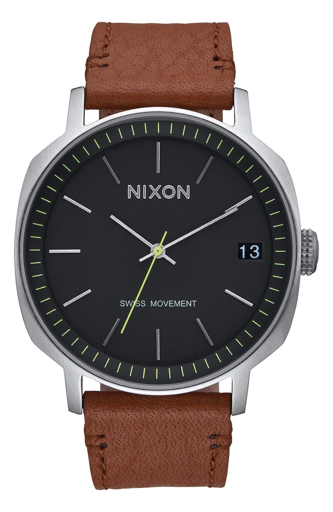 Main Image - Nixon 'The Regent' Leather Strap Watch, 42mm