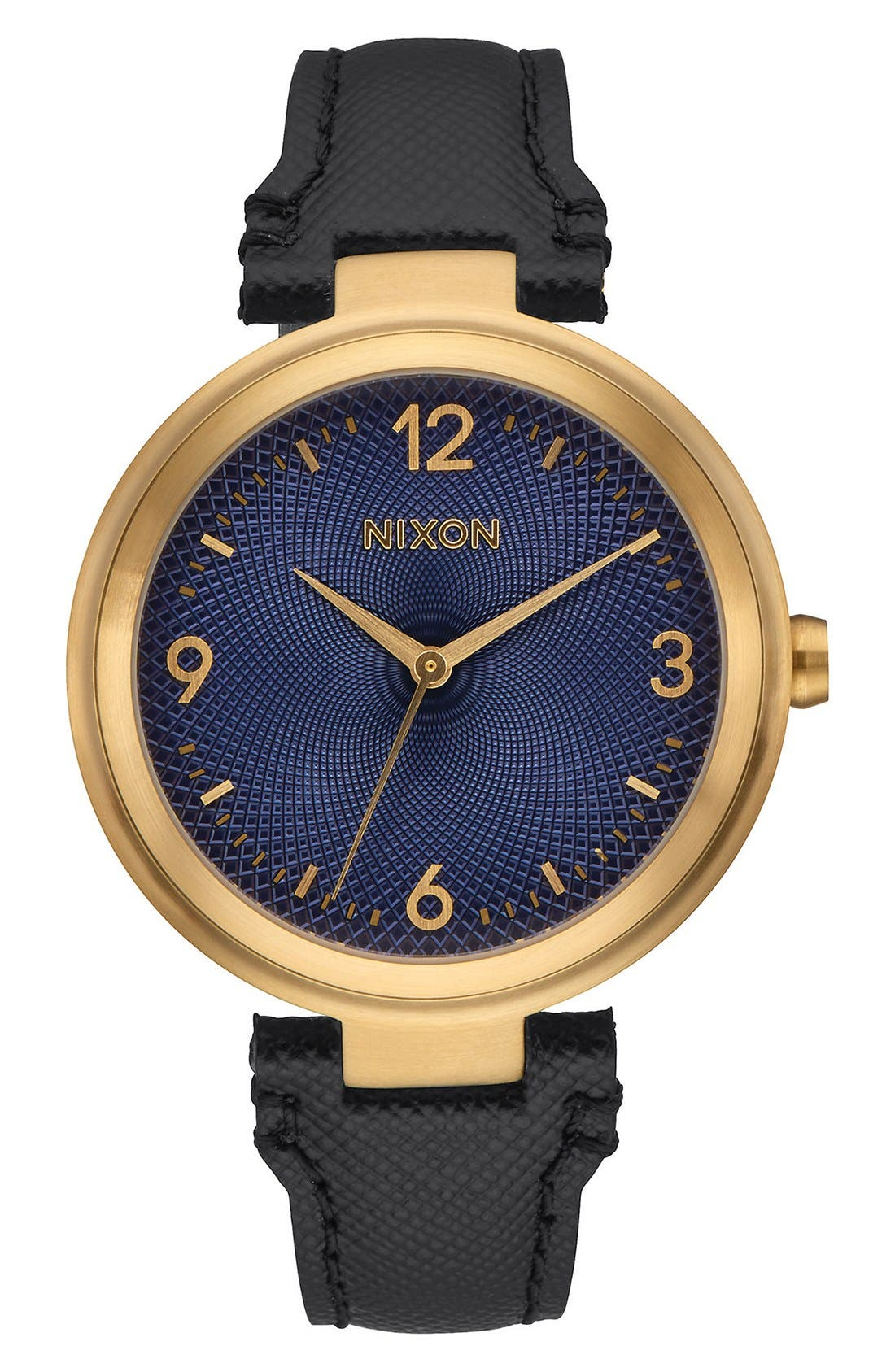 NIXON Chameleon Leather Strap Watch, 39mm