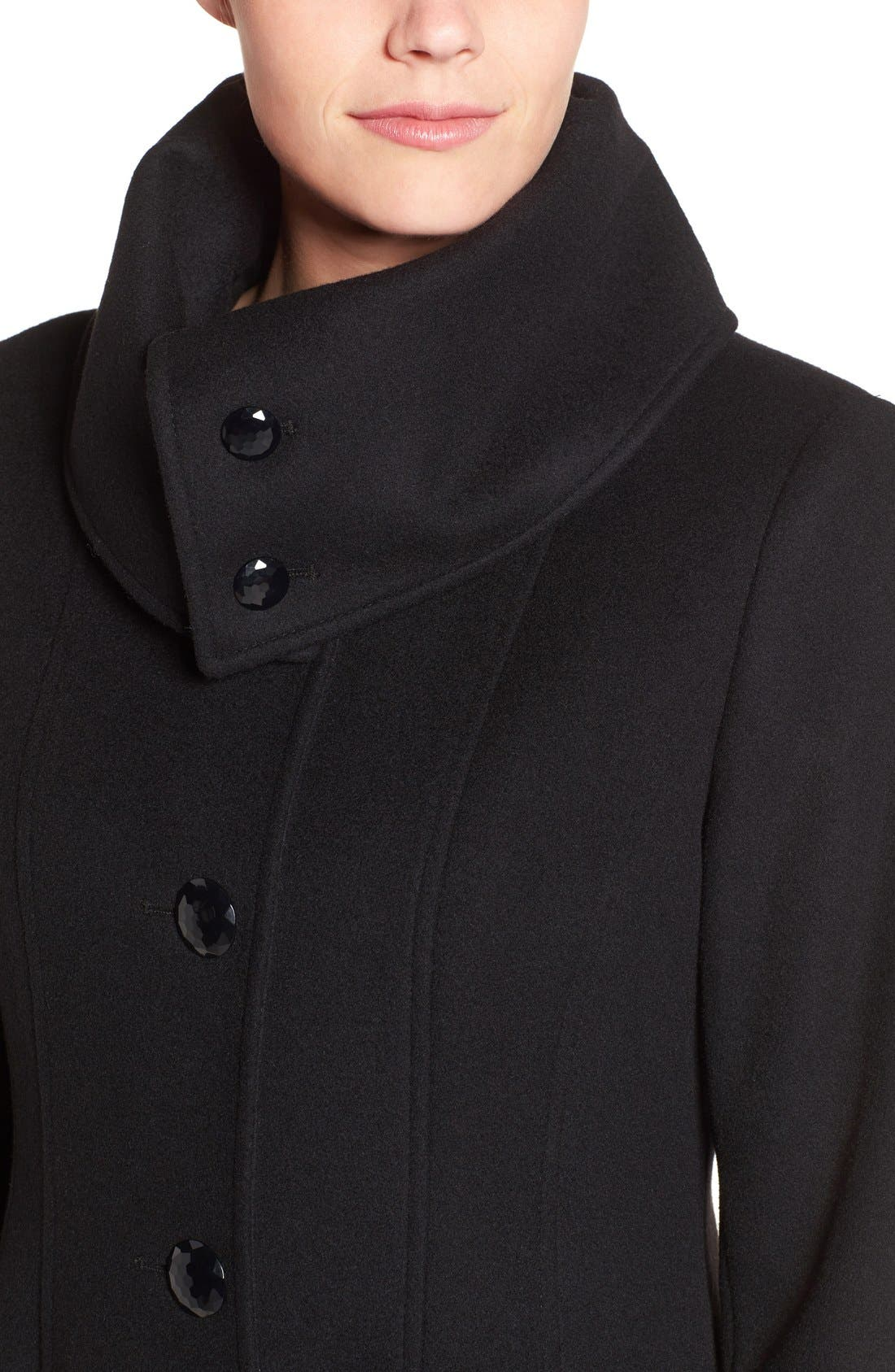 High Neck Wool Blend Long Coat,                             Alternate thumbnail 4, color,                             Black