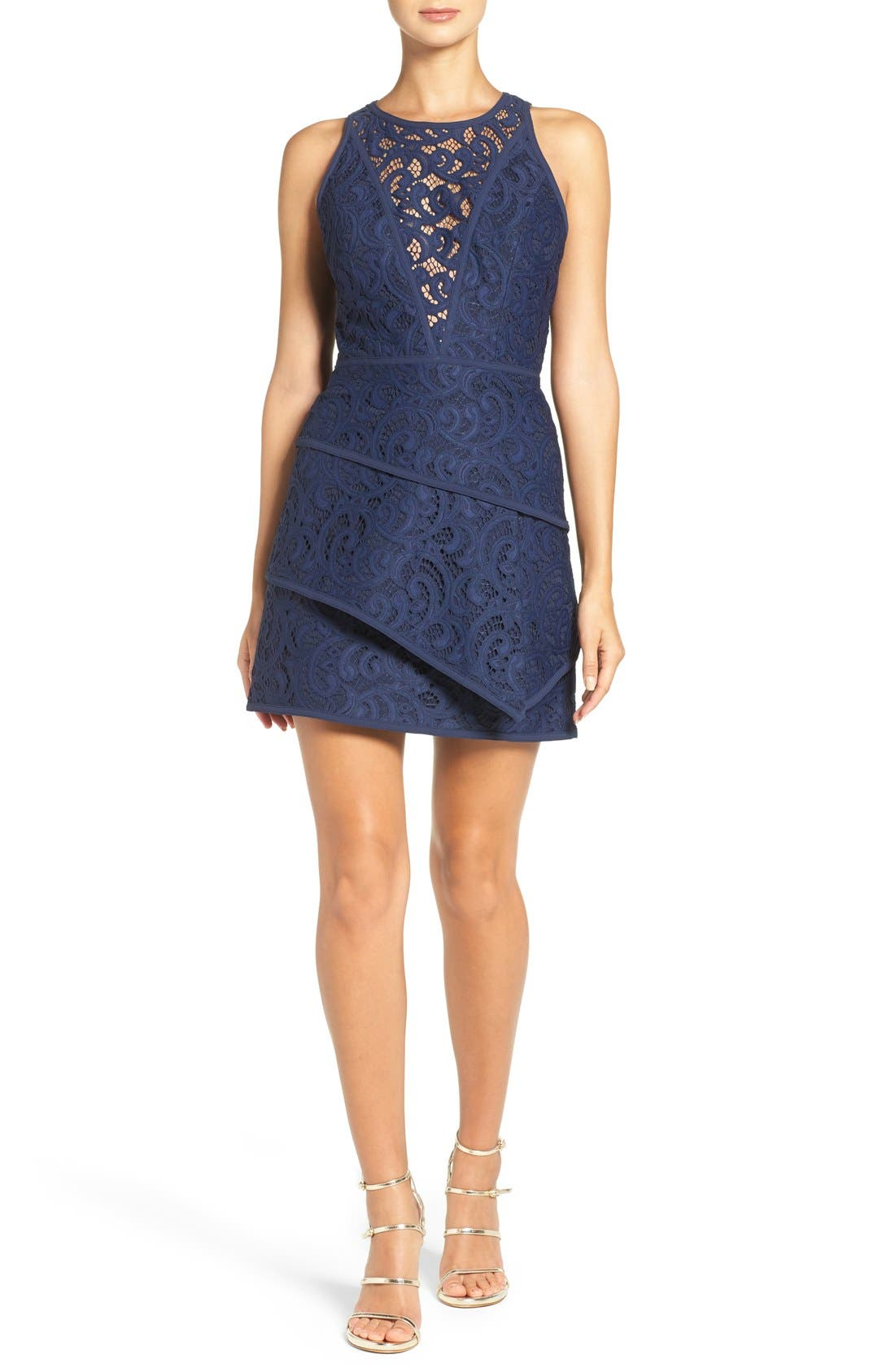 Alternate Image 4  - BCBGMAXAZRIA 'Hannah' Tiered Lace Fit & Flare Dress