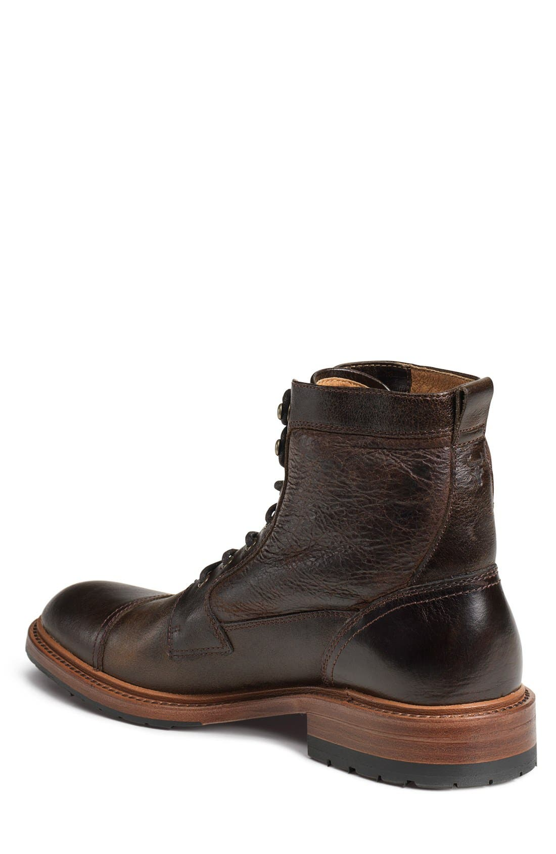 'Lowell' Cap Toe Boot,                             Alternate thumbnail 2, color,                             Dark Brown