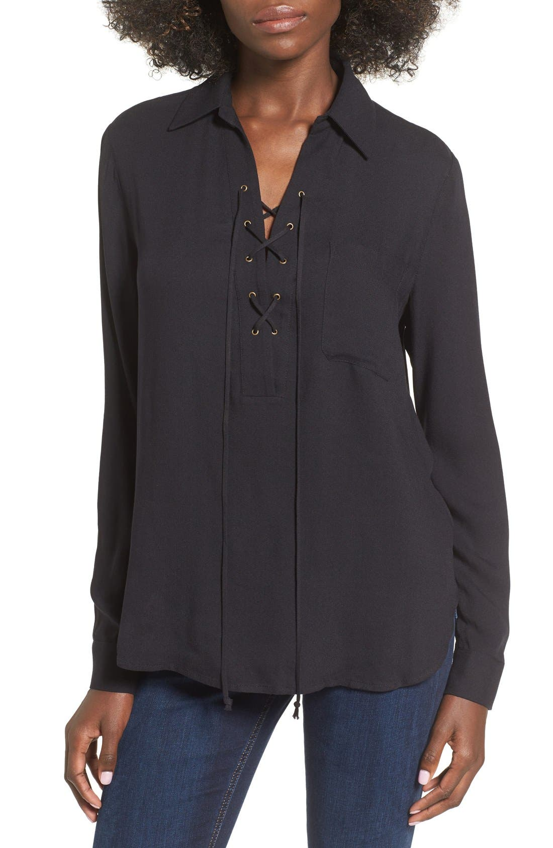 Main Image - WAYF 'Dean' Stripe Lace-Up Popover Top