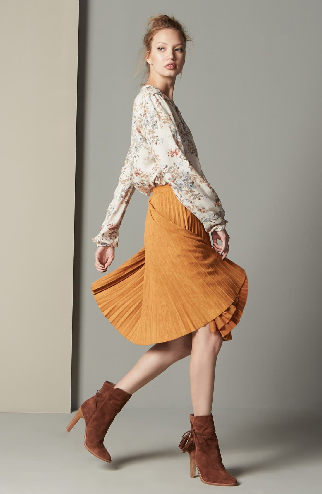 Alternate Image 2  - Storee Pleated Faux Suede Skirt