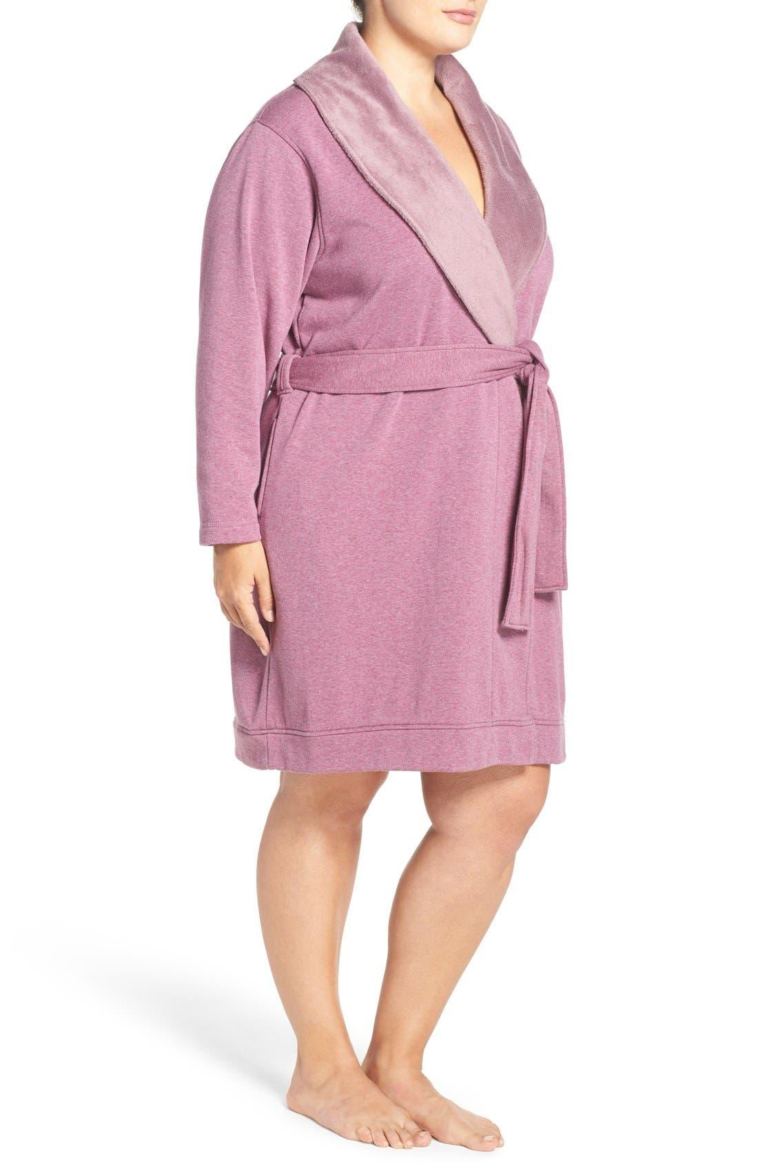 'Blanche' Plush Shawl Collar Robe,                             Alternate thumbnail 3, color,                             Shadow Heather