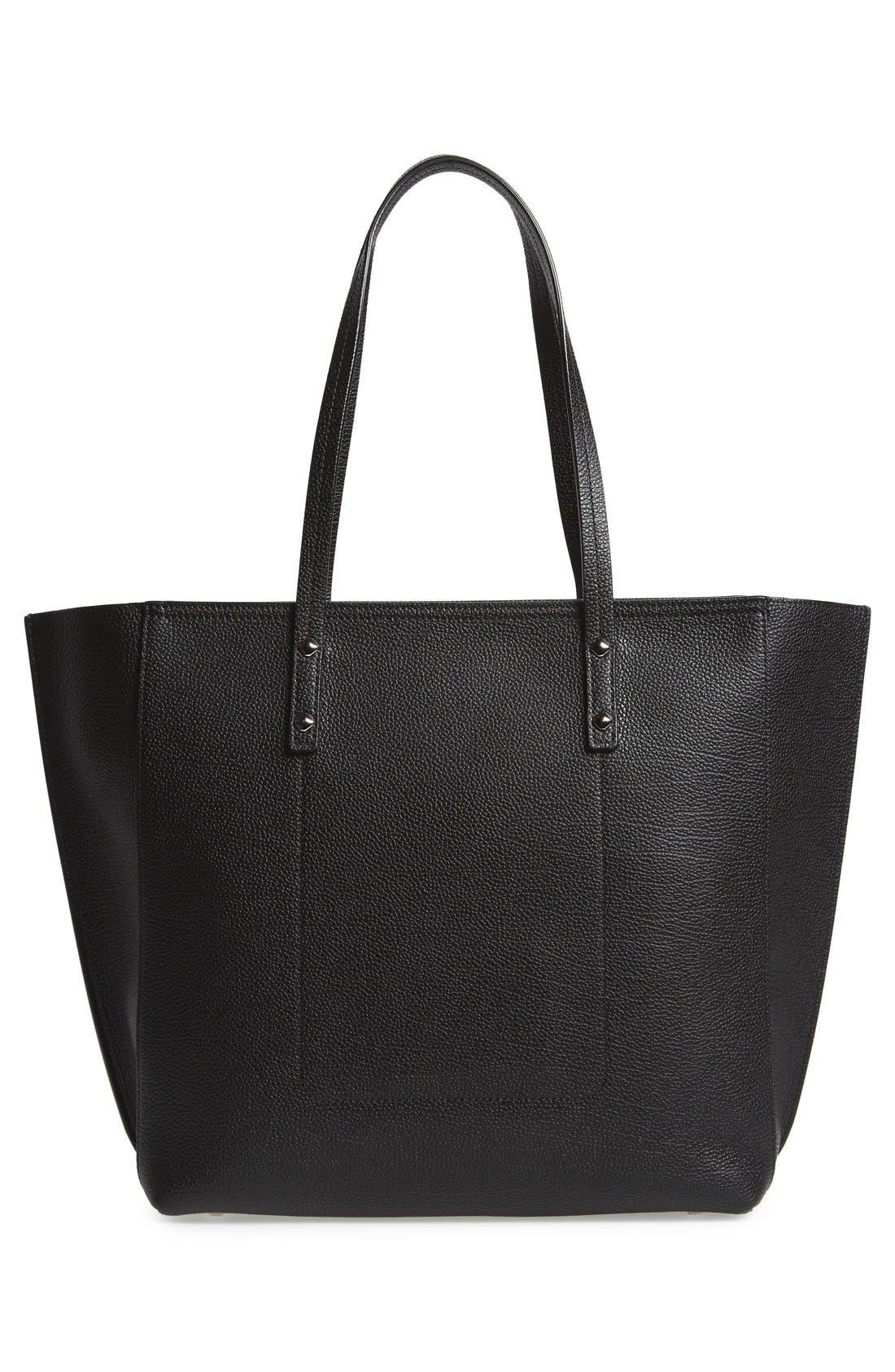 'Medium Sophie' Leather Shopper,                             Alternate thumbnail 3, color,                             Black