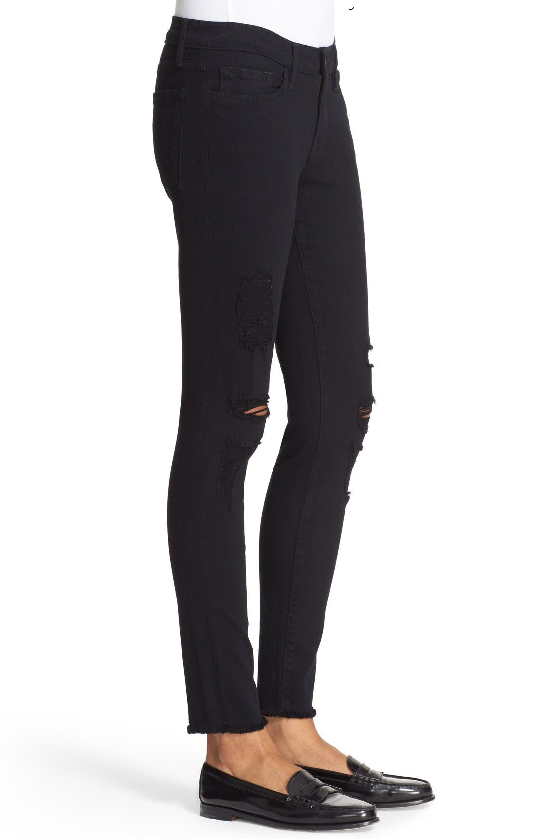 'Le Skinny de Jeanne' Ripped Jeans,                             Alternate thumbnail 3, color,                             Noir Jefferson