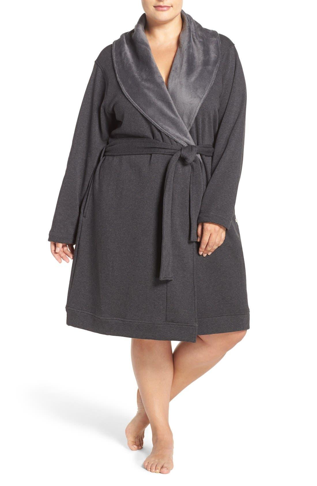 UGG® 'Blanche' Plush Shawl Collar Robe (Plus Size)