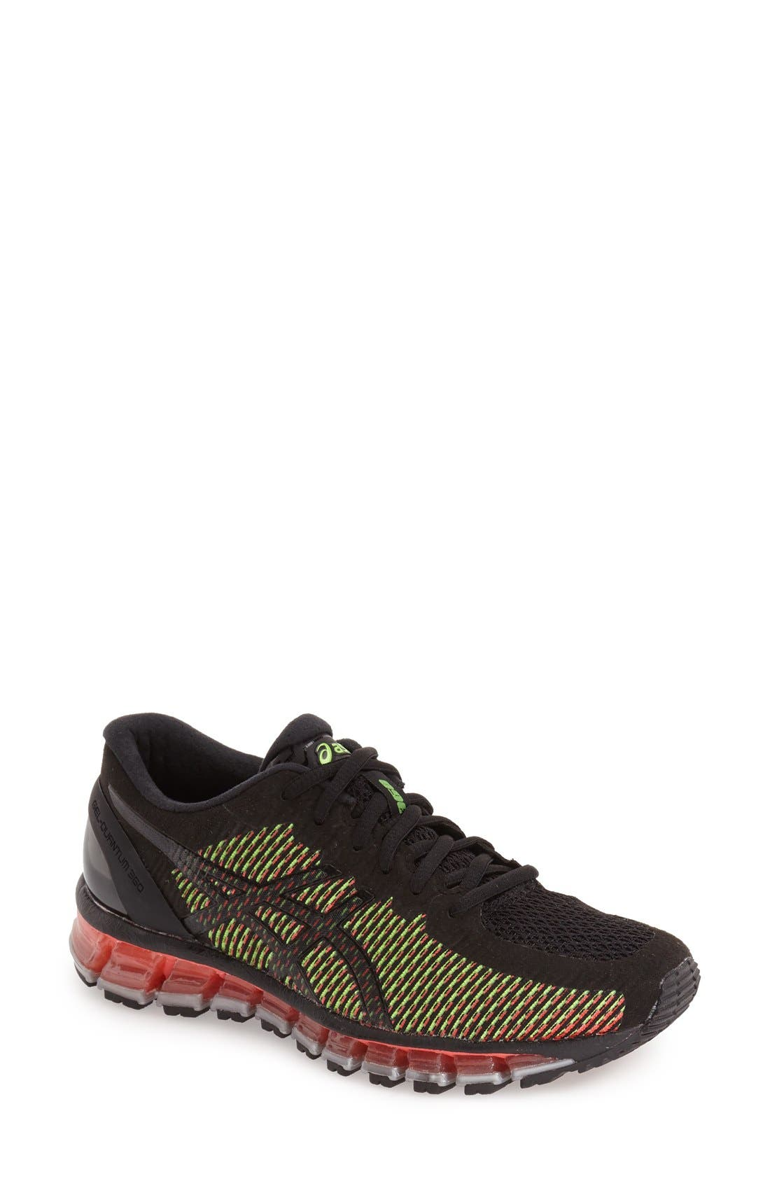 'GEL-Quantum 360' Running Shoe,                         Main,                         color, Black/ White/ Green Gecko