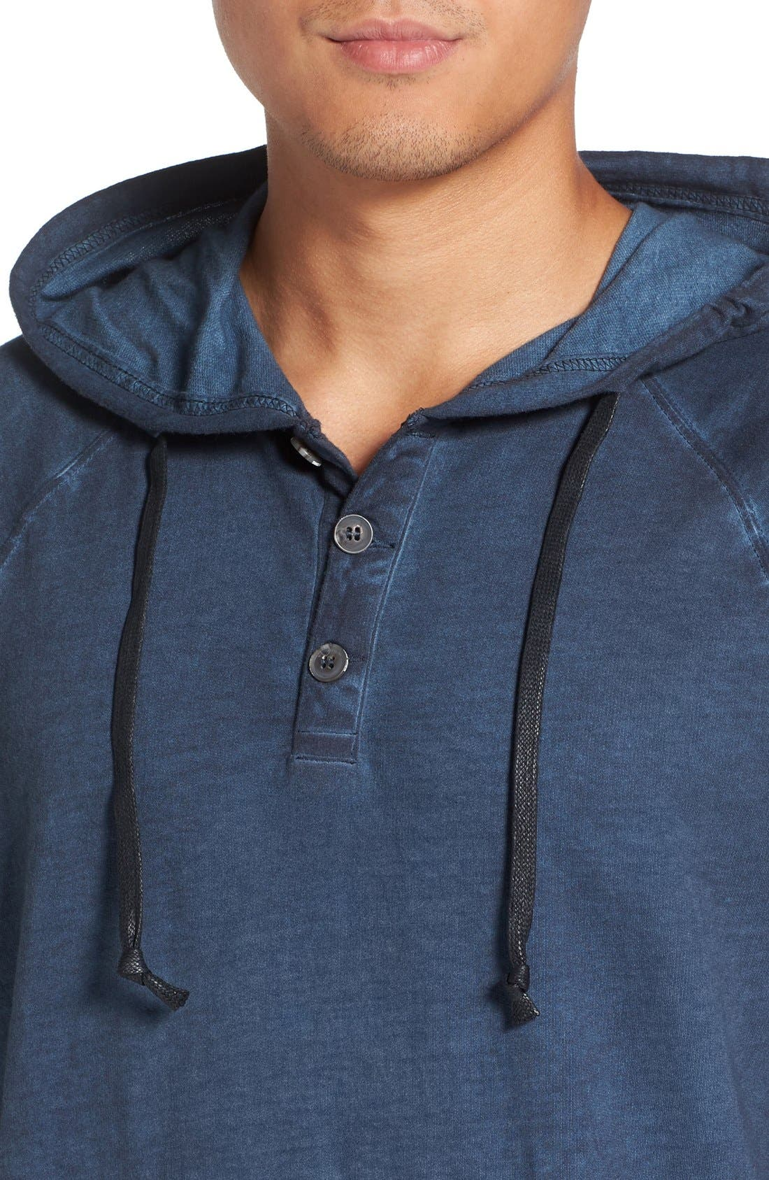 Faded Henley Hoodie,                             Alternate thumbnail 4, color,                             Navy