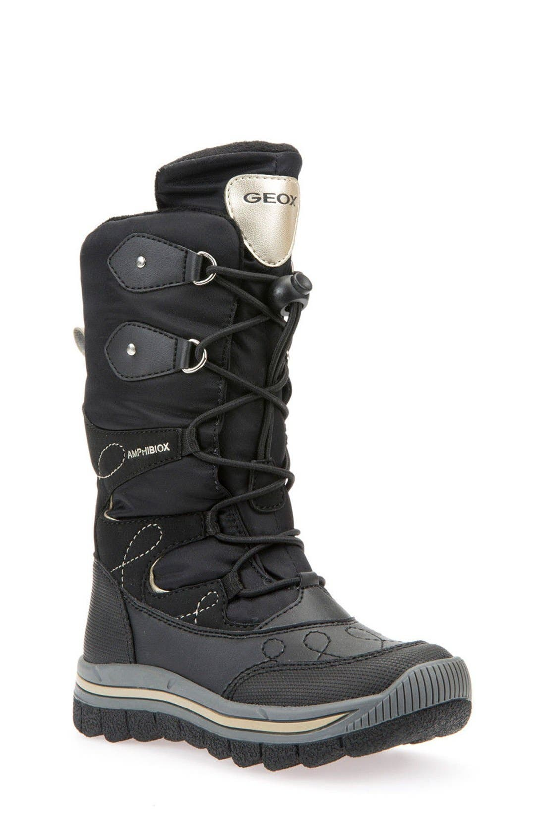 'Overland ABX' Waterproof Boot,                             Main thumbnail 1, color,                             Black/ Gold